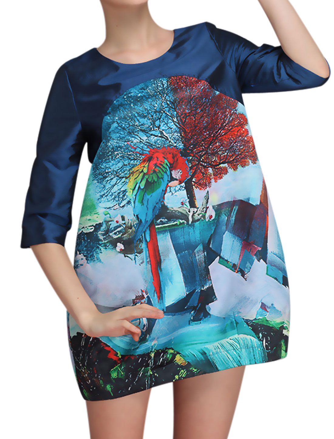 Women Trees Parrot Prints Slant Pockets 3/4 Sleeve Short Dress Multicolor S