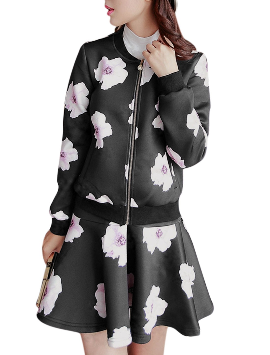 Women Floral Prints Zip Up Casual Jacket w Fit w Flare Skirt Set Black S