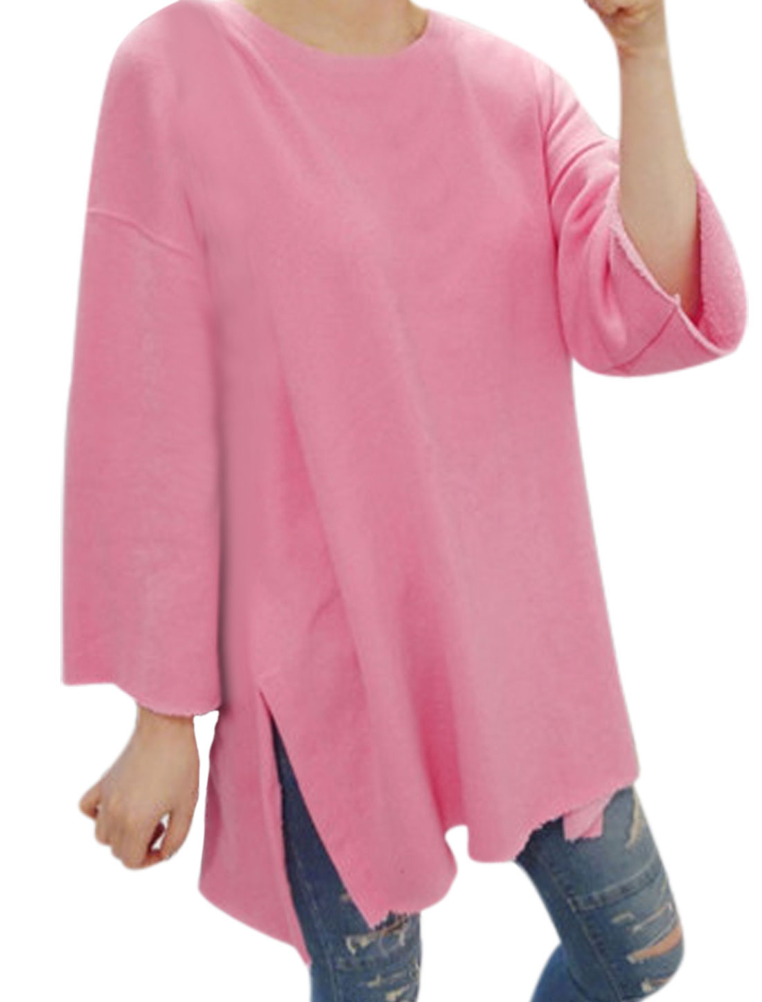 Ladies Pink Long Sleeves Round Neck Pullover Loose Casual Tunic Top XS