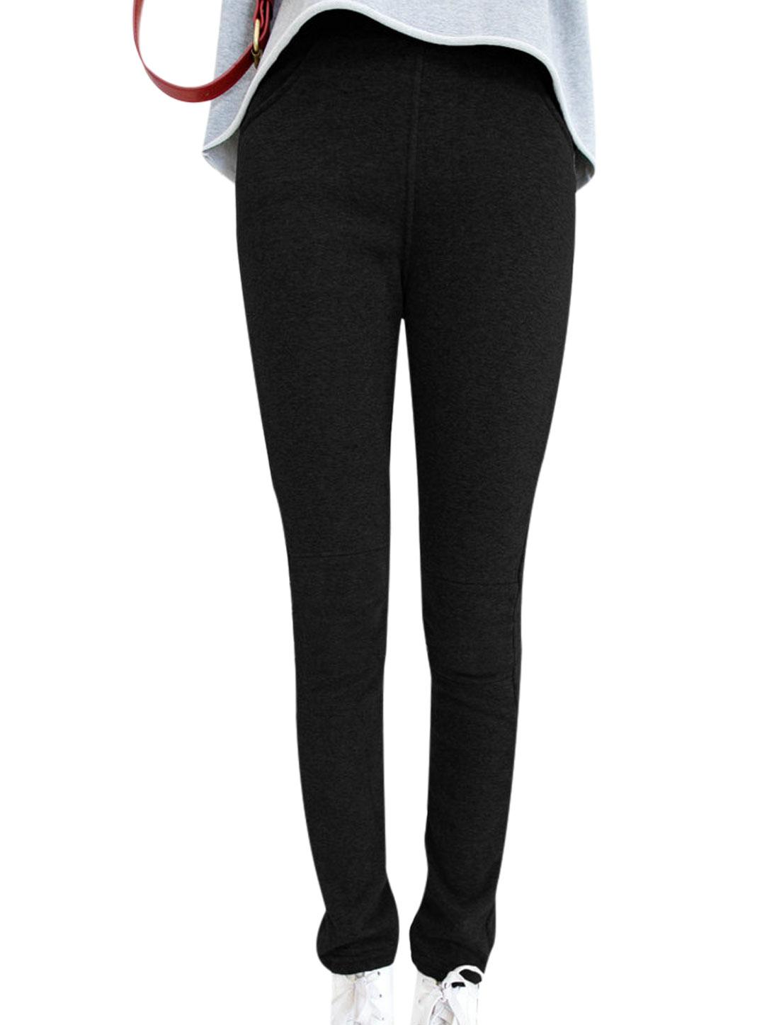 Ladies Black Mid Rise Elastic Waist Slim Fit Fleece Lining Leggings XS