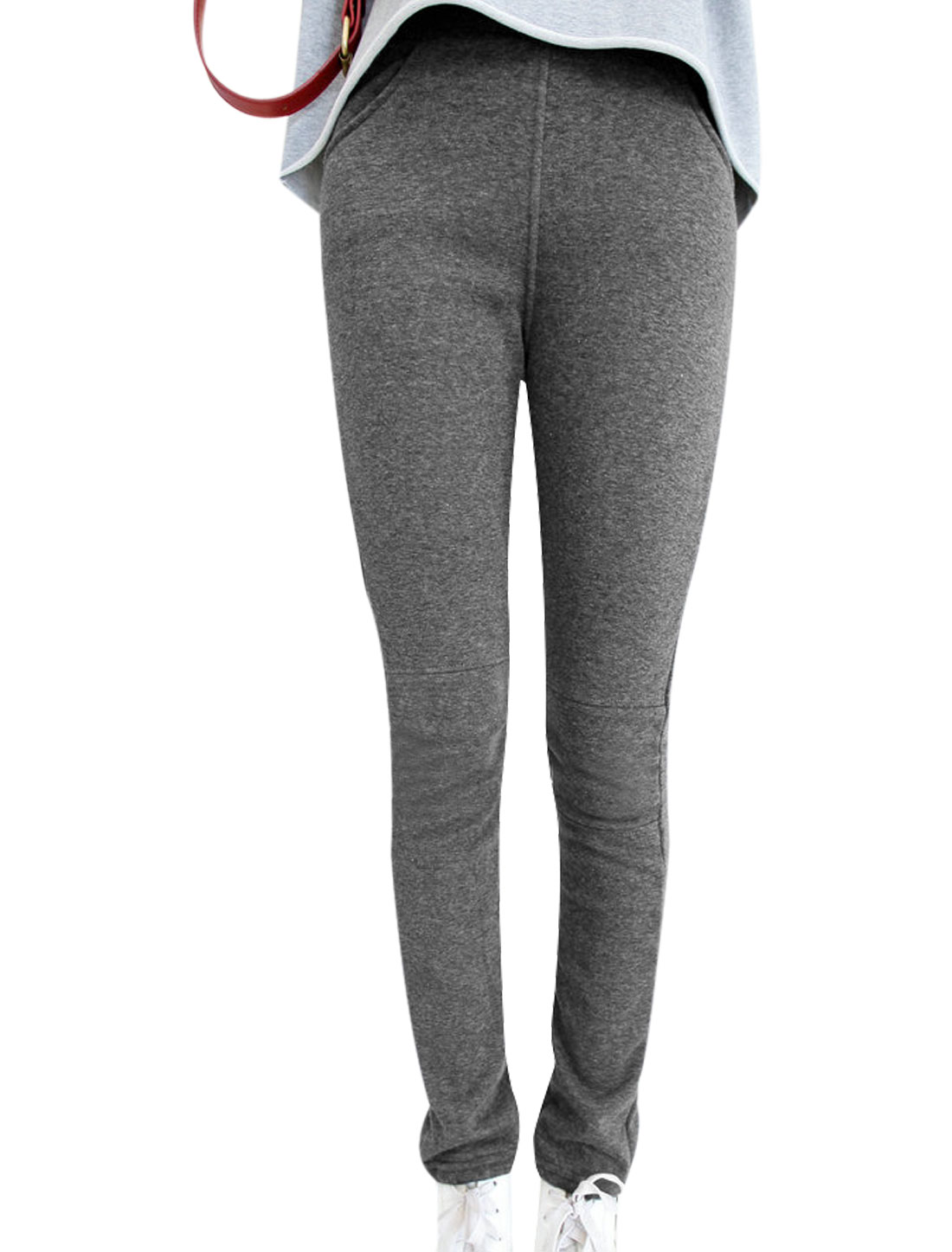 Ladies Dark Gray Mid Rise Elastic Waist Splice Detail Front Pockets Leggings XS