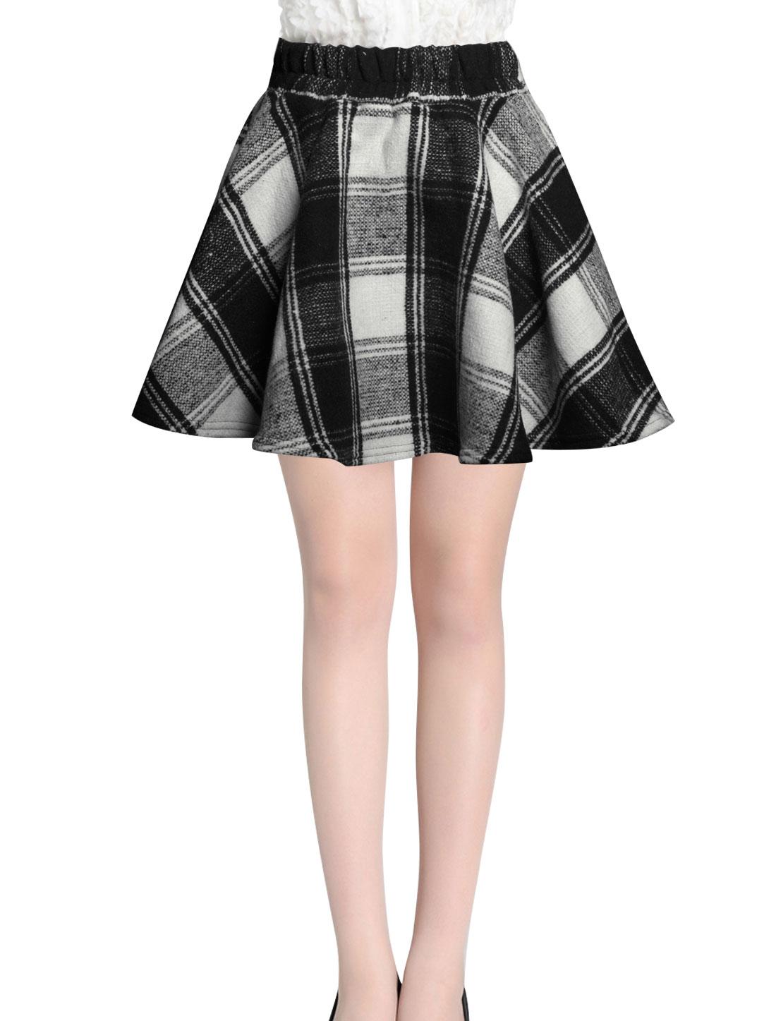 Ladies White Mid Rise Elastic Waist Back Color Block Flare Skirt S