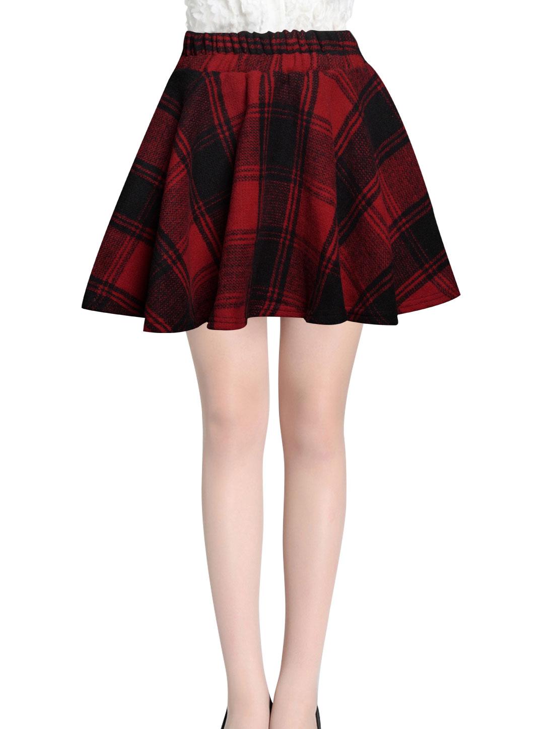 Ladies Red Mid Rise Elastic Waist Back Leisure Flare Skirt S