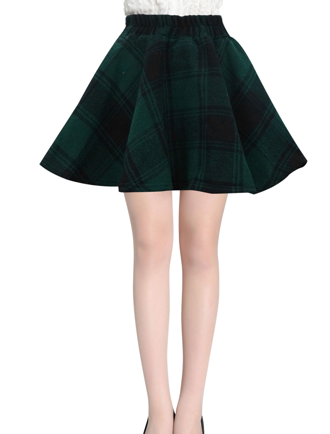 Ladies Dusty Green Mid Rise Elastic Waist Back Plaids Pattern Flare Skirt S