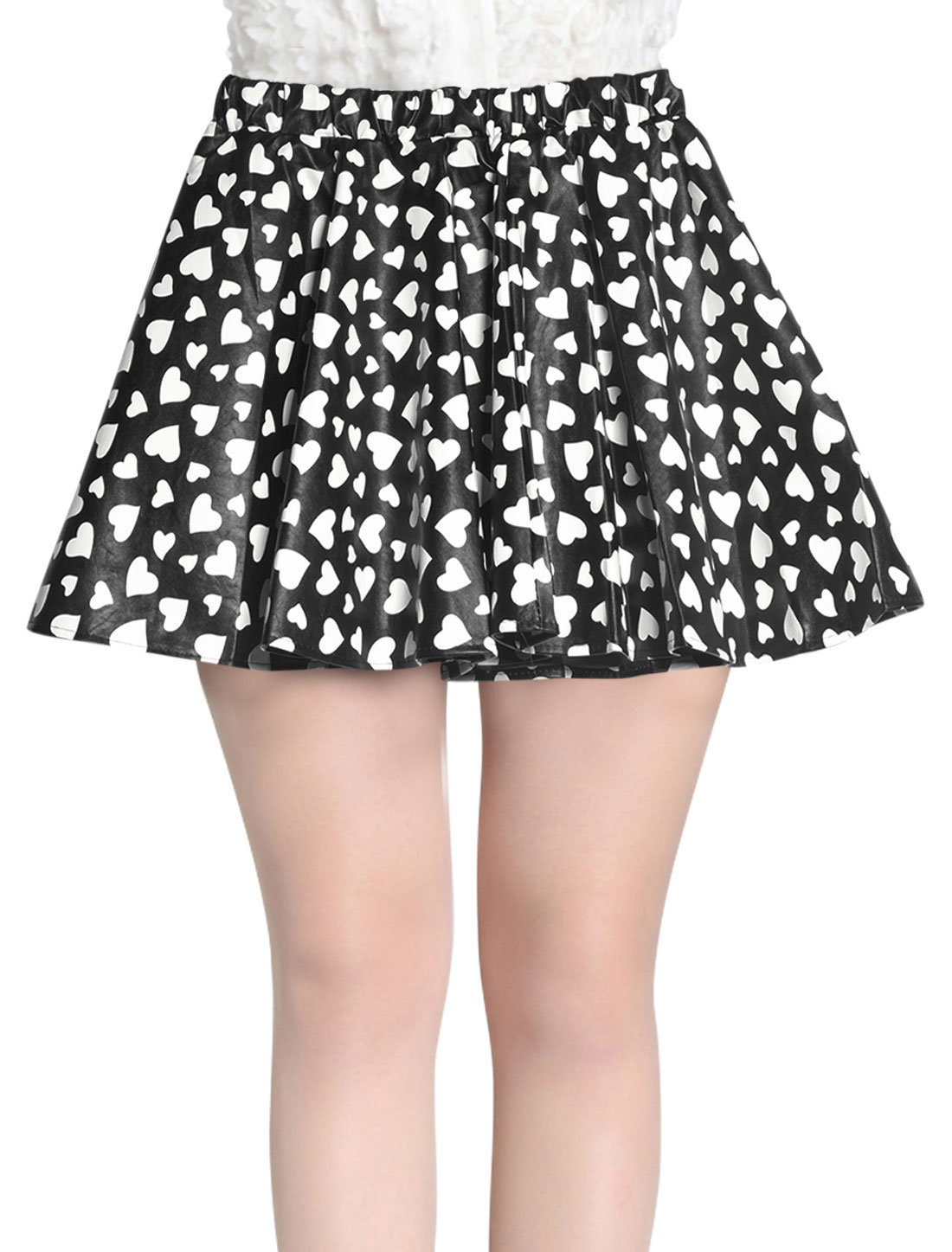 Women Hearts Prints Elastic Waist Imitation Leather Skirt Black White S
