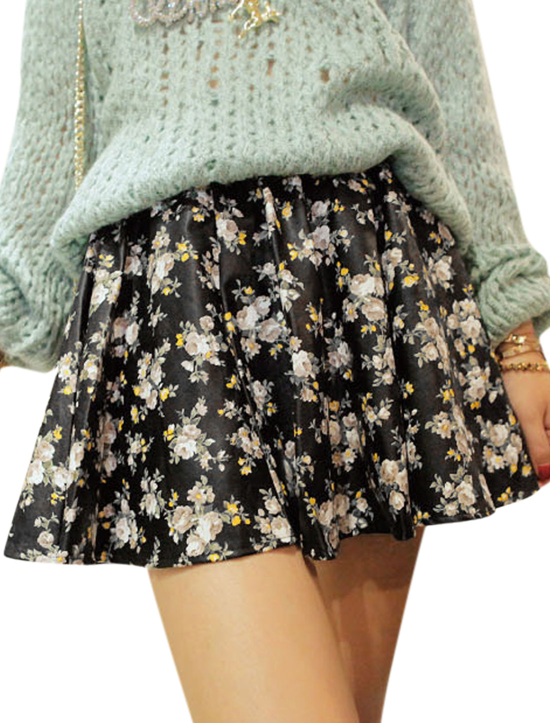 Women Floral Prints Elastic Waist Lined Imitation Leather Skirt Black S
