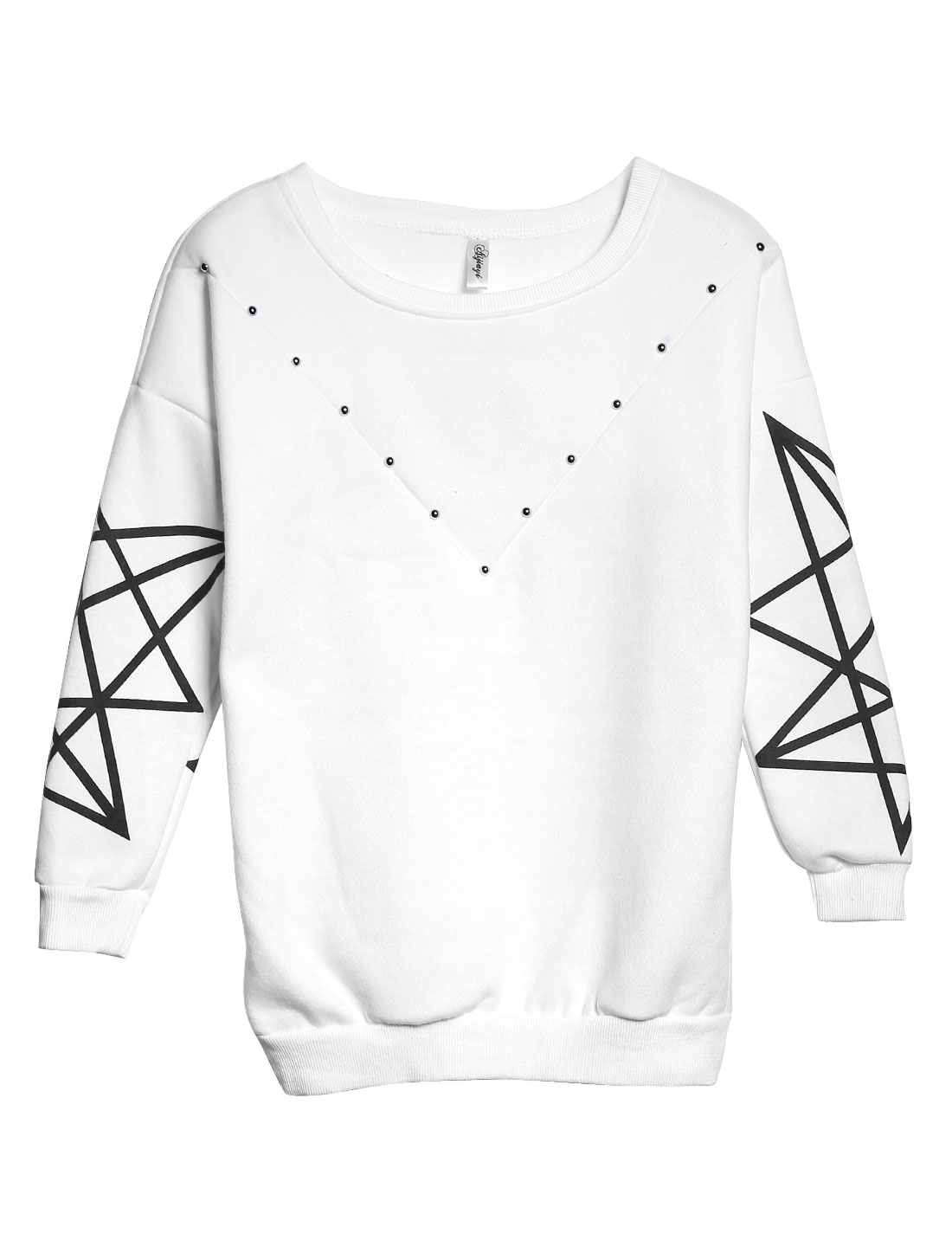 Lady Stars Pattern Round Neck Soft Casual Sweatshirt White XS