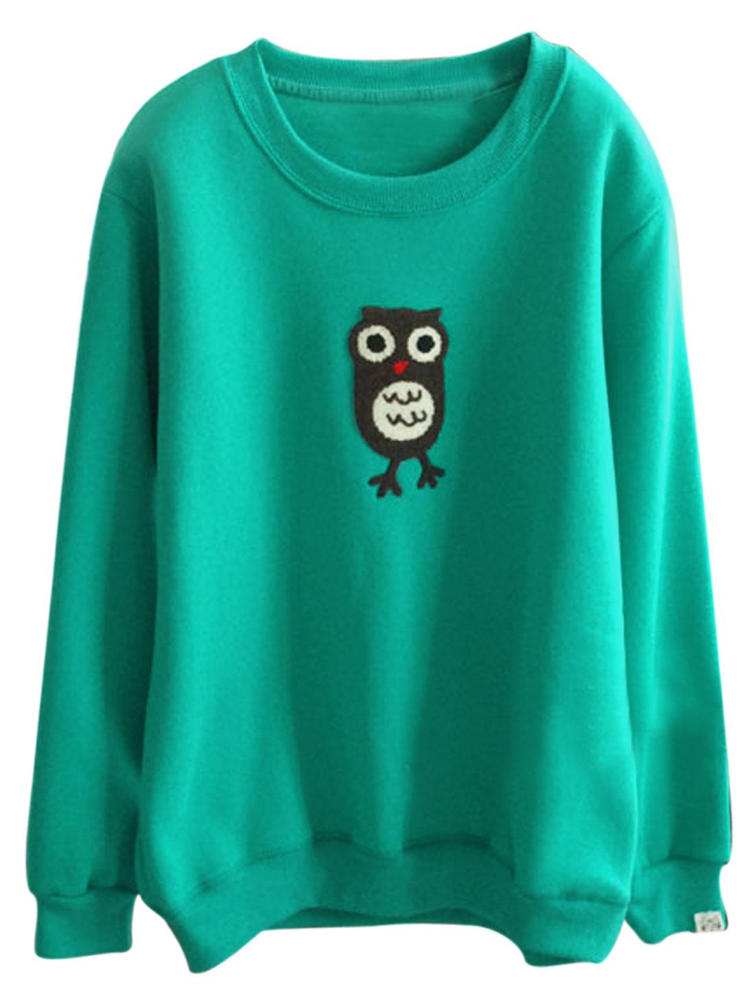 Women Round Neck Owl Applique Pullover Leisure Sweatshirt Sea Green XS