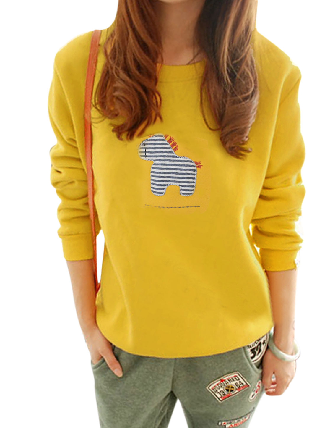 Lady Round Neck Zebra Applique Fashionable Casual Top Yellow XS