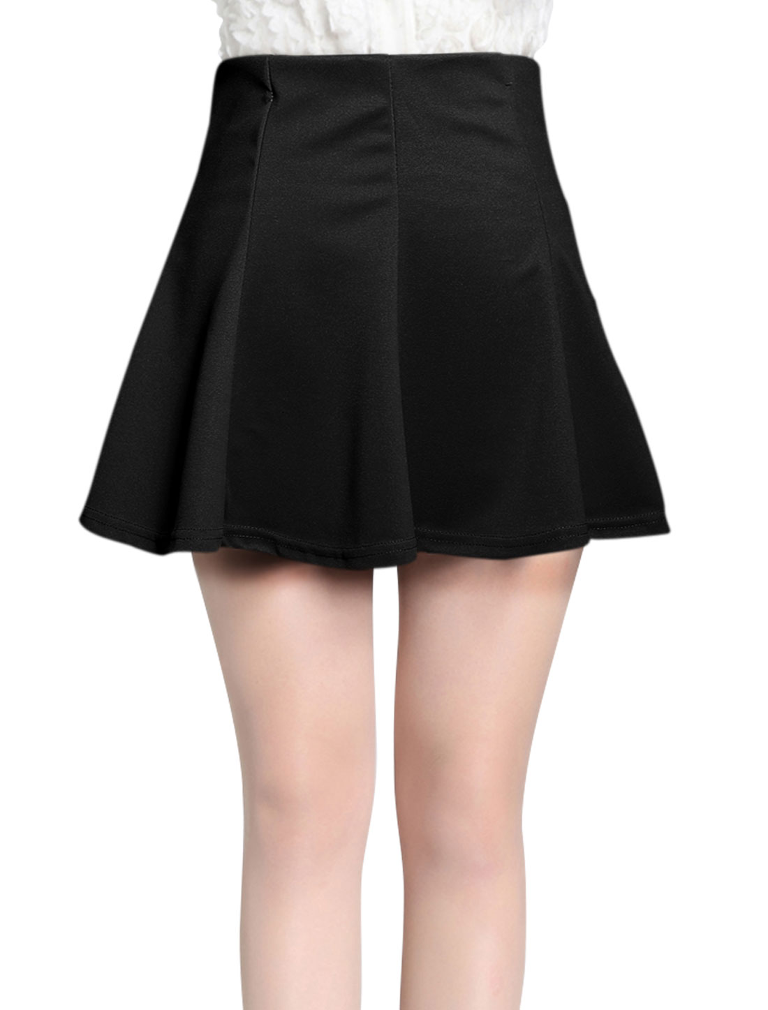 Women Elastic Waist Casual Mini Fit w Flare Skirt Black XS