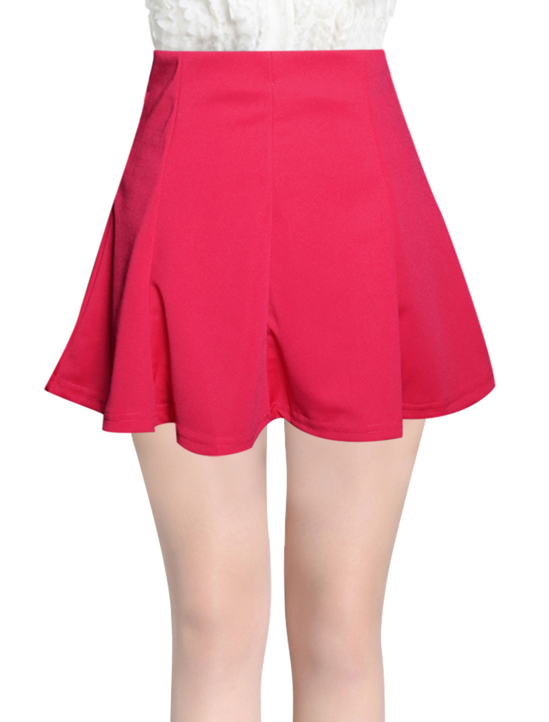 Lady Stretchy Waist Mini Fit w Flare Skirt Fuchsia XS