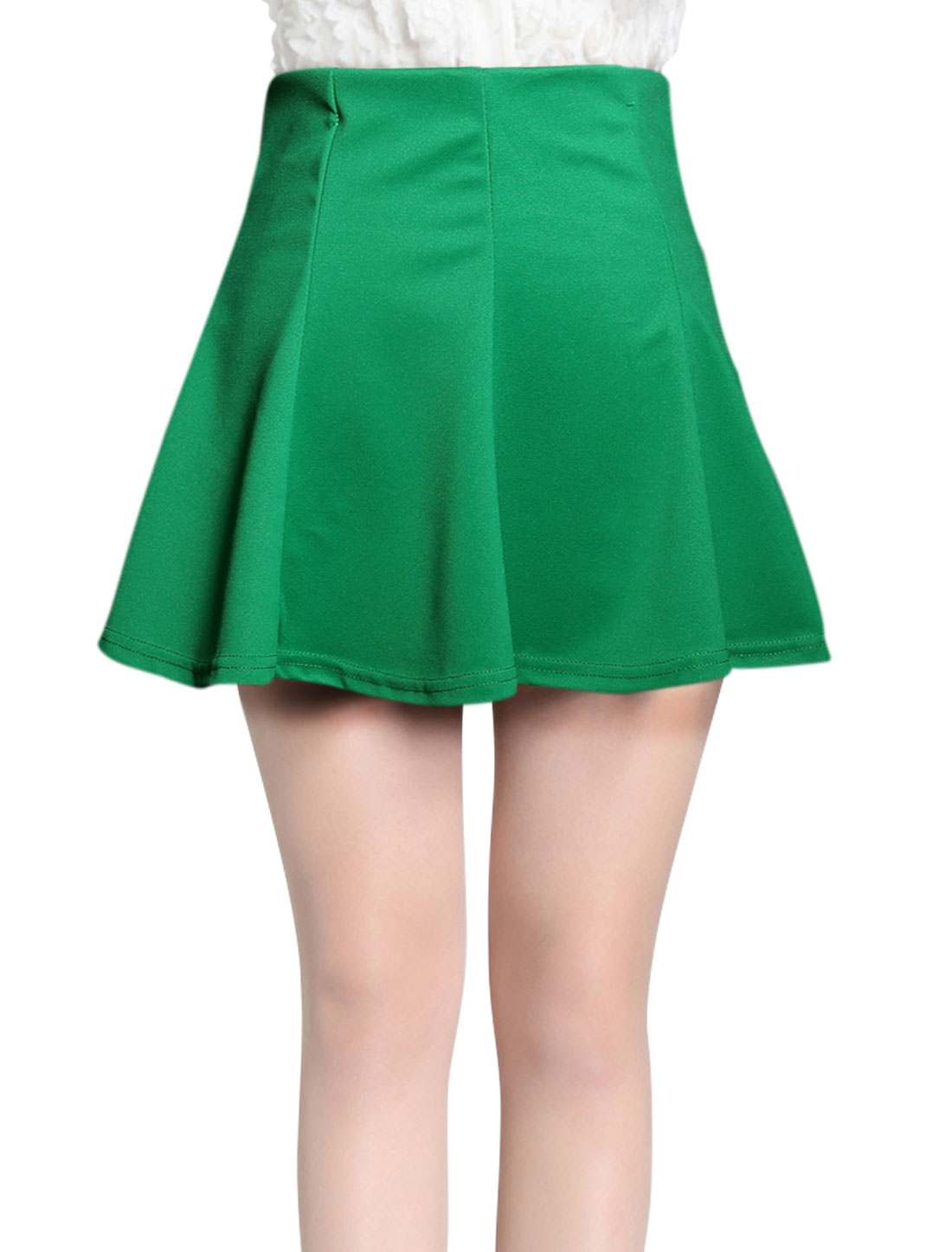Women Fashion Style Elastic Waist Mini Fit w Flare Skirt Green XS