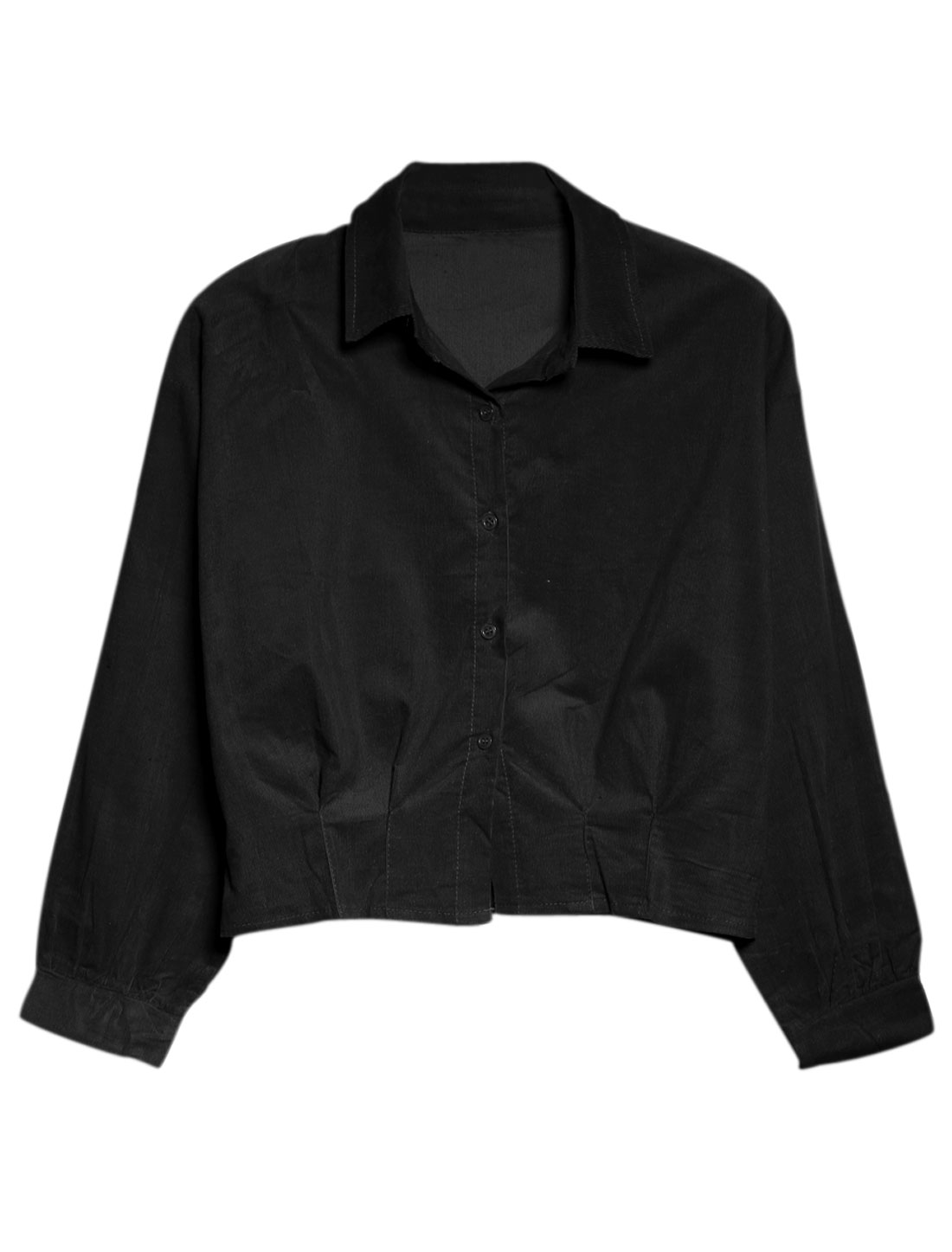 Women Single Breasted Long Sleeve Point Collar Casual Shirt Black XS