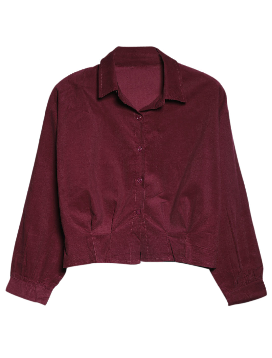 Lady Button Closure Front Long Sleeve Leisure Shirt Burgundy XS
