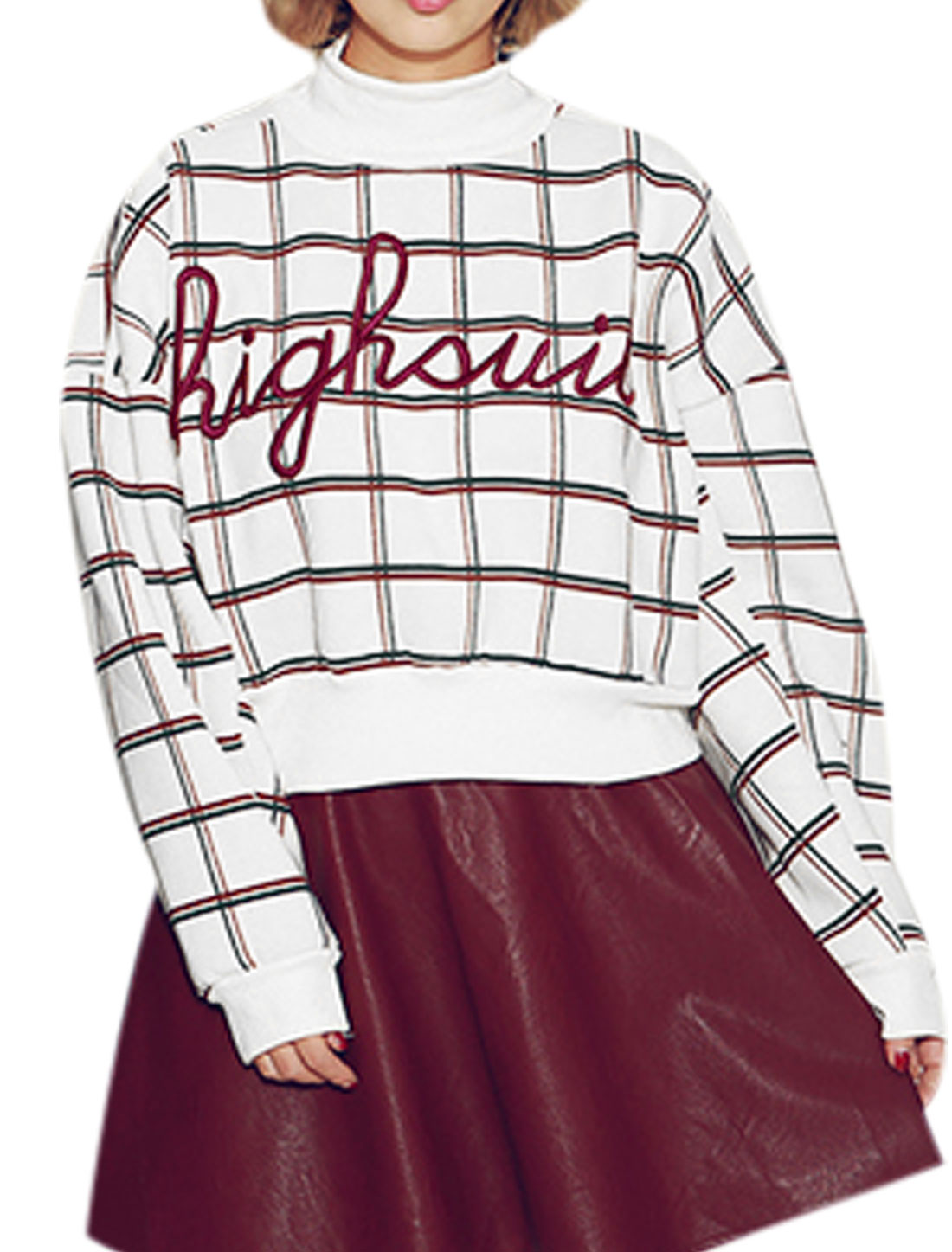Lady Turtle Neck Letters Plaids Pattern Casual Top White S