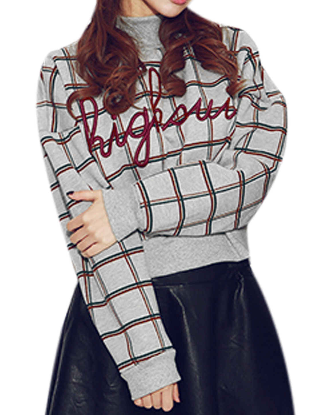 New Style Letters Plaids Pattern Fleece Inside Top for Lady Light Gray S