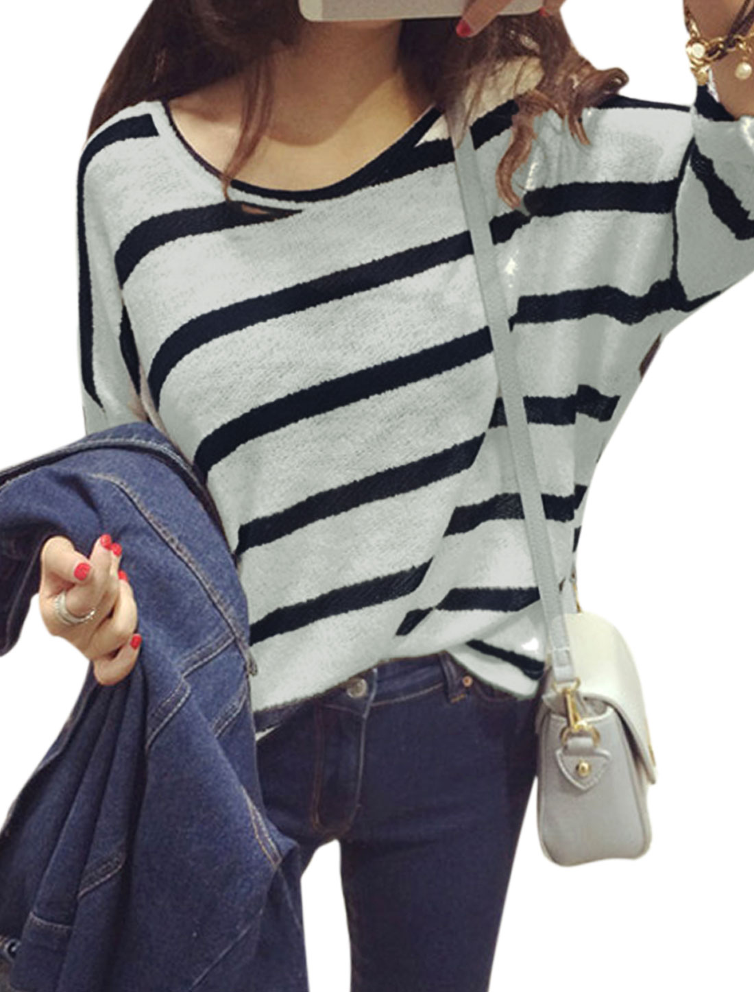 Ladies Navy Blue White Batwing Sleeves Round Neck Pullover Stripes Casual Knit Shirt S