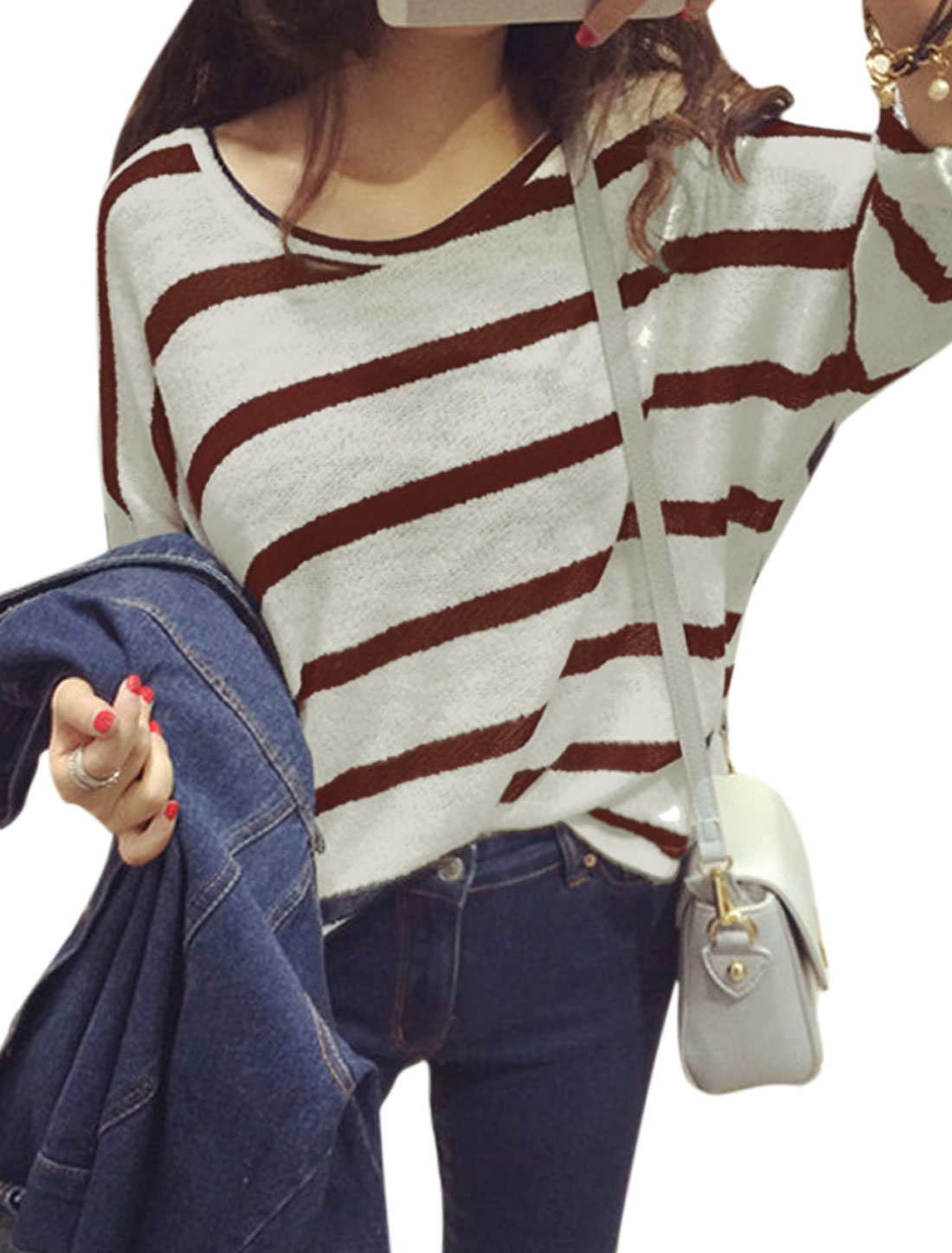 Ladies Brown White Batwing Sleeves Round Neck Pullover Stripes Loose Knit Shirt S