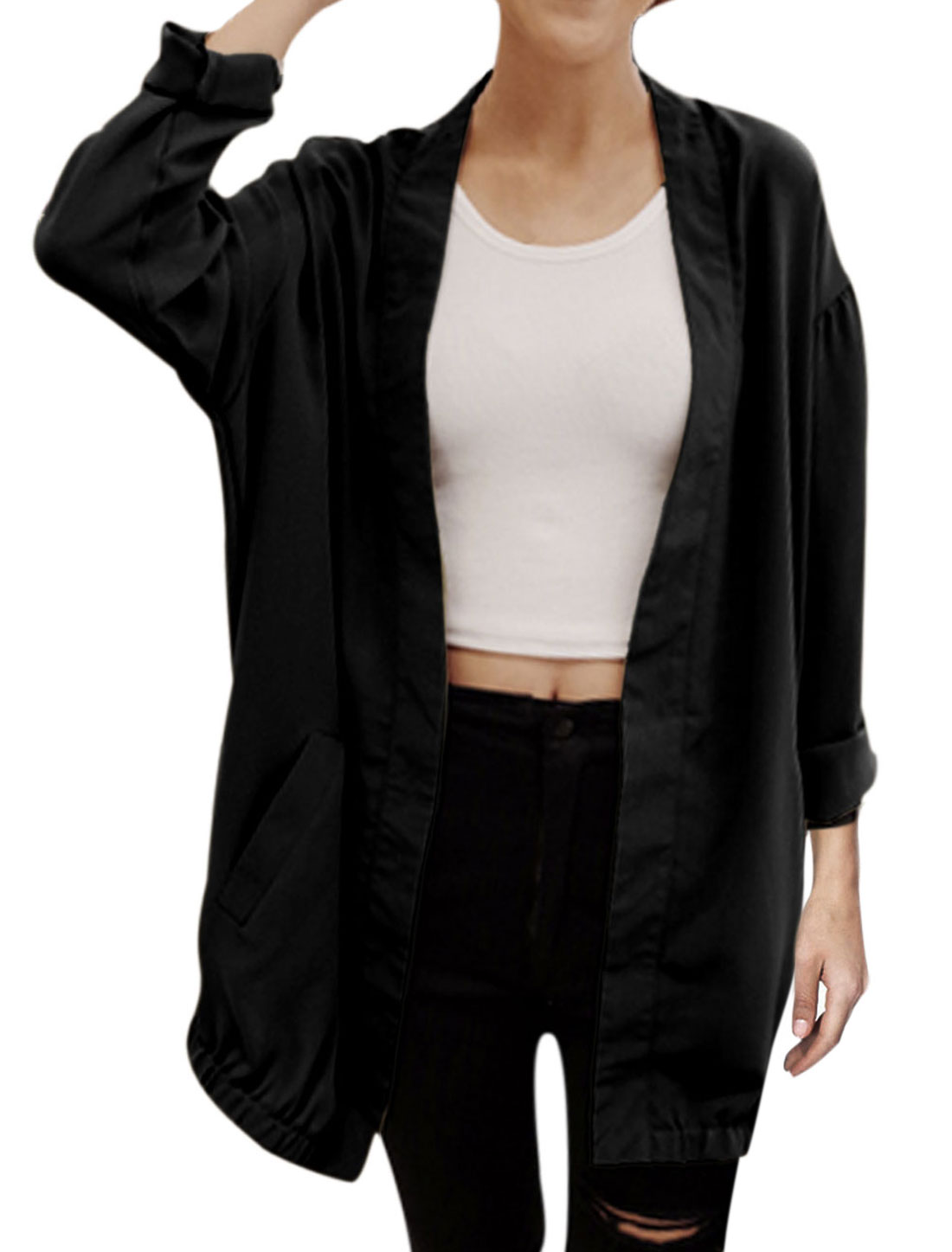 Lady Front Opening Double Slant Pockets Casual Chiffon Cardigan Black S