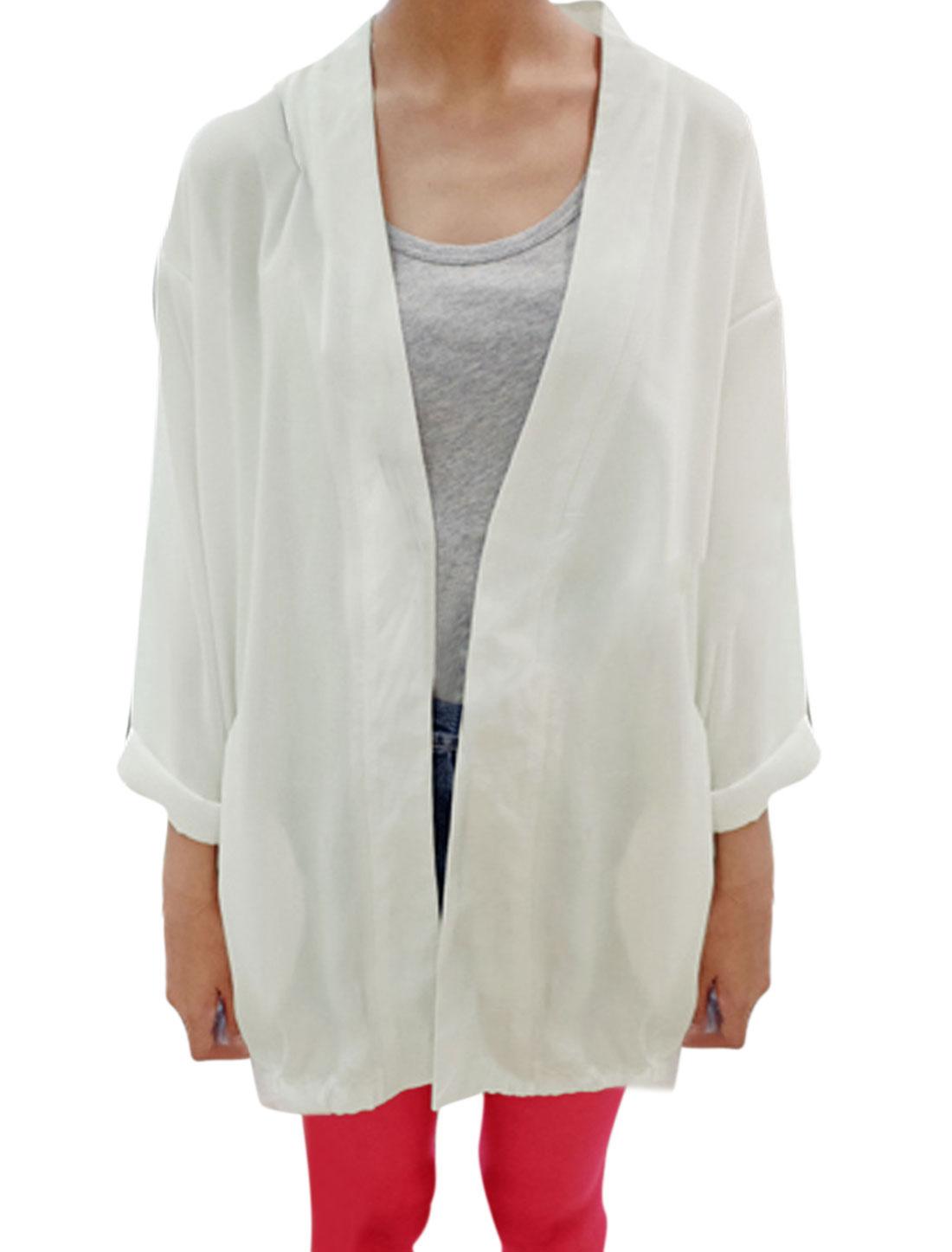 Lady Long Sleeve Front Opening Fashion Leisure Chiffon Cardigan White S