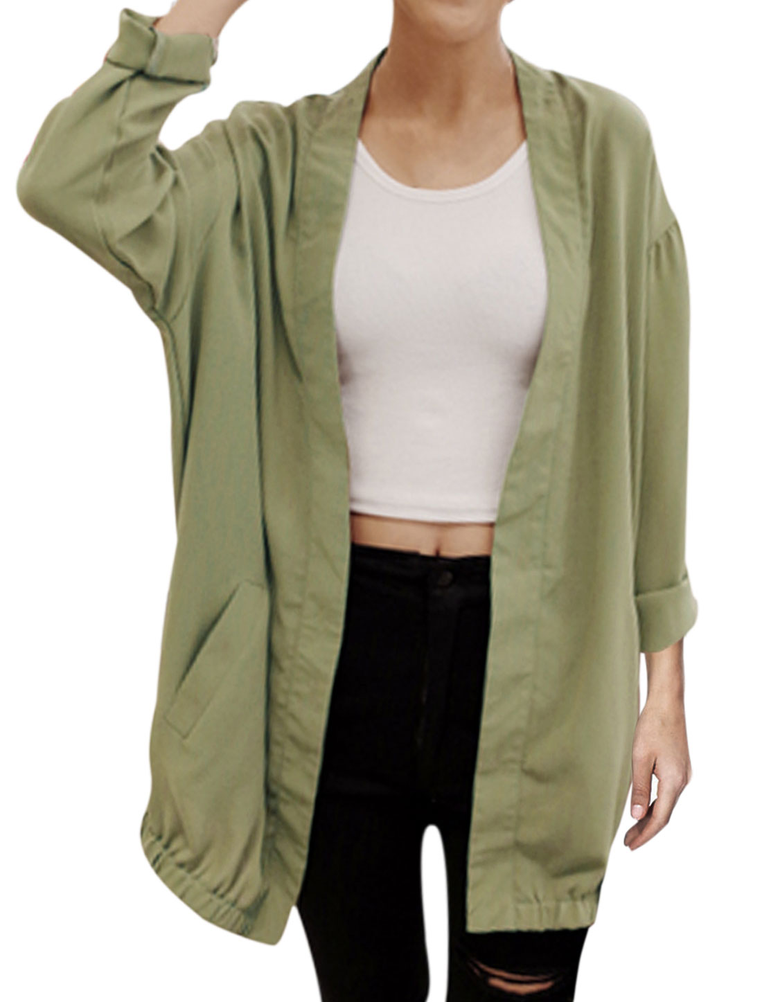 Loose Fit Casual Front Opening Trendy Chiffon Cardigan for Lady Army Green S