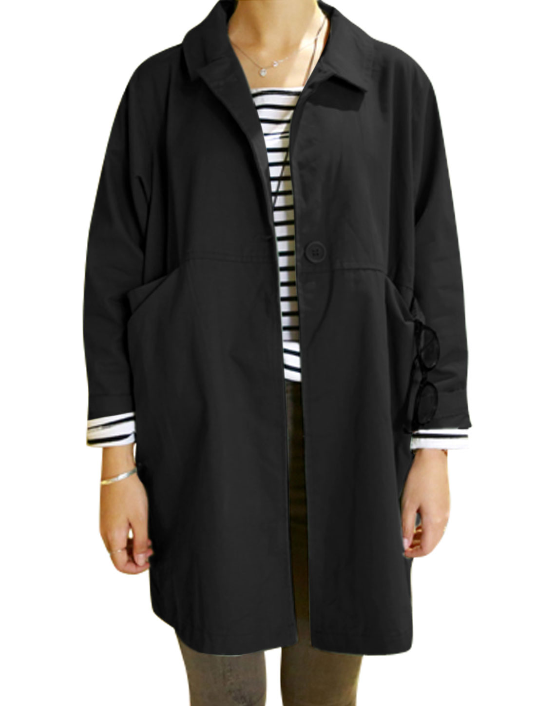 Women Turn Down Collar Long Sleeve Casual Trench Jacket Black S
