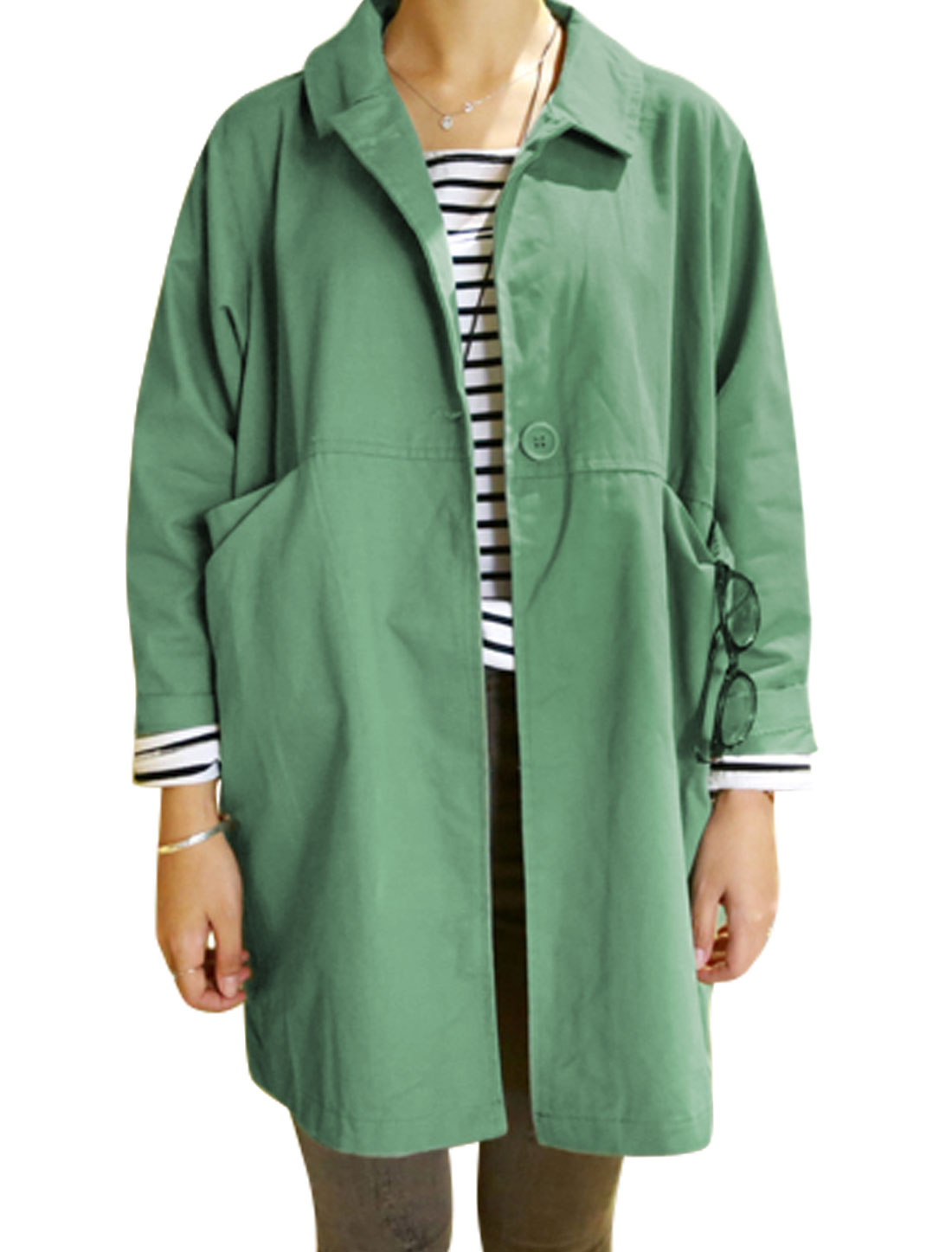 Women Long Sleeve Half Button Closure Leisure Trench Jack Steel Green S