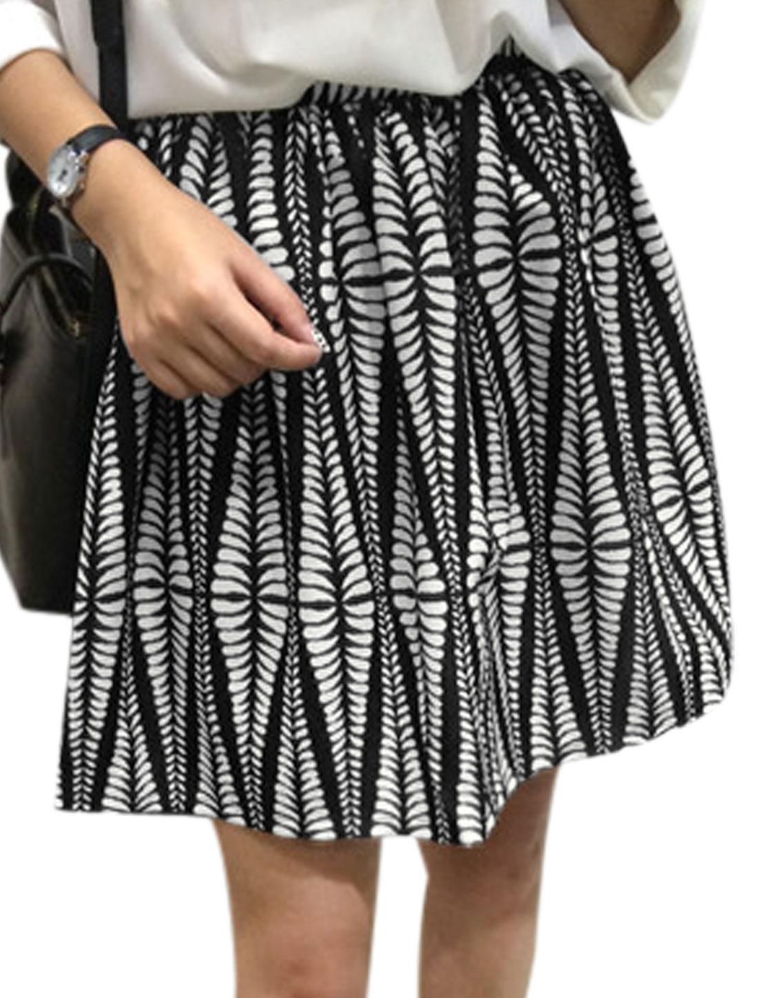 Women Novelty Pattern Hidden Zipper Side Full Skirt Black White M