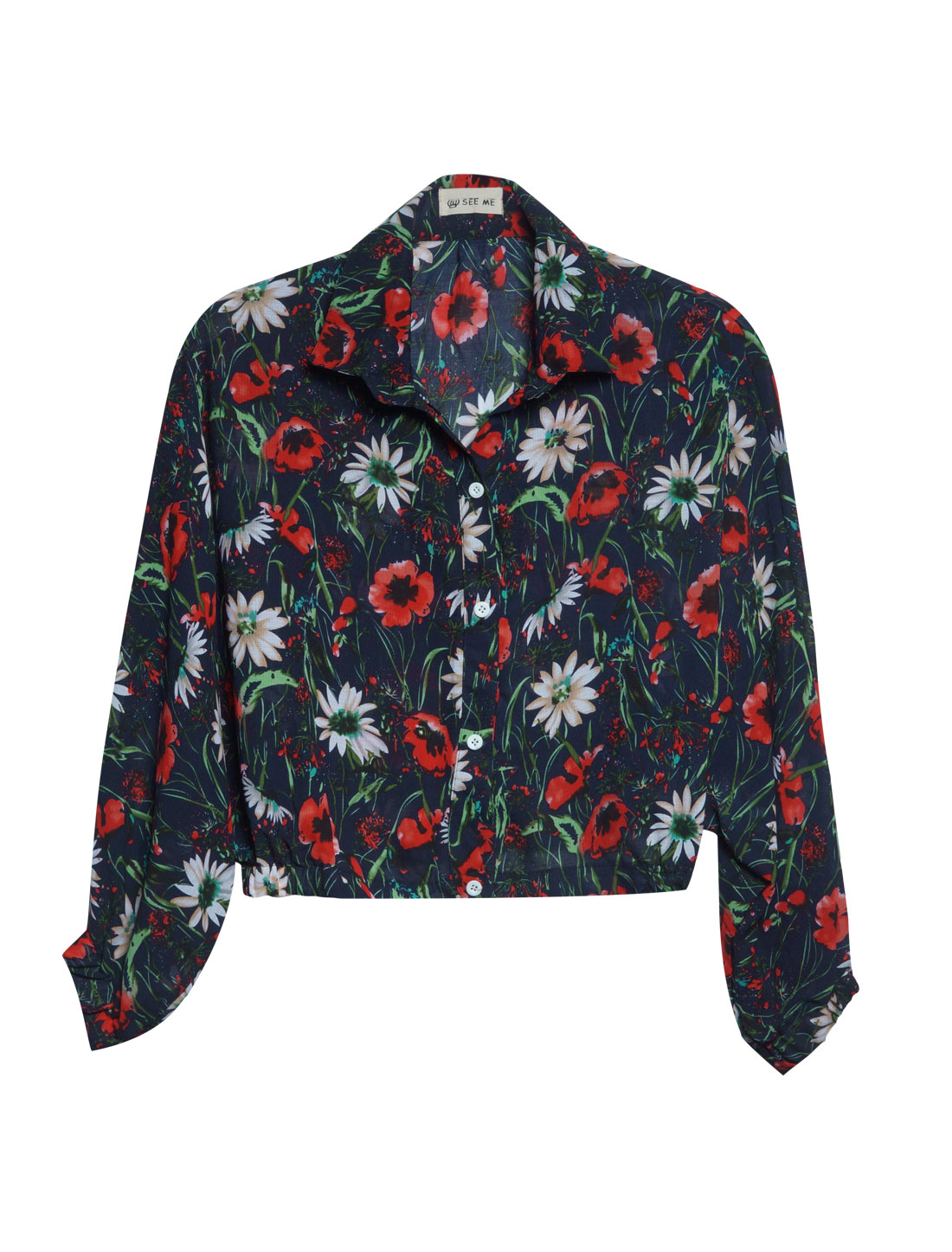 Women Point Collar Floral Prints Batwing Sleeve Fashion Shirt Navy Blue XS