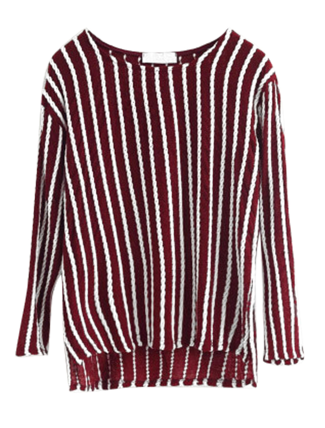Ladies Burgundy Long Sleeves Round Neck Casual Tunic Top XS