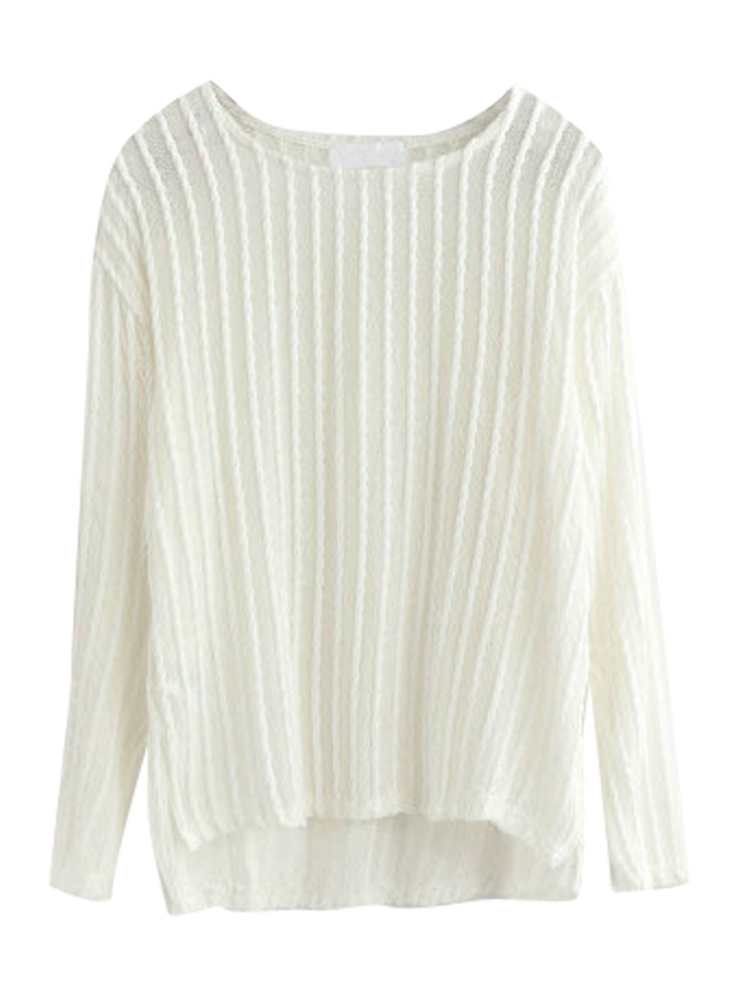Ladies Off White Long Sleeves Round Neck Pullover Low High Hem Tunic Top XS