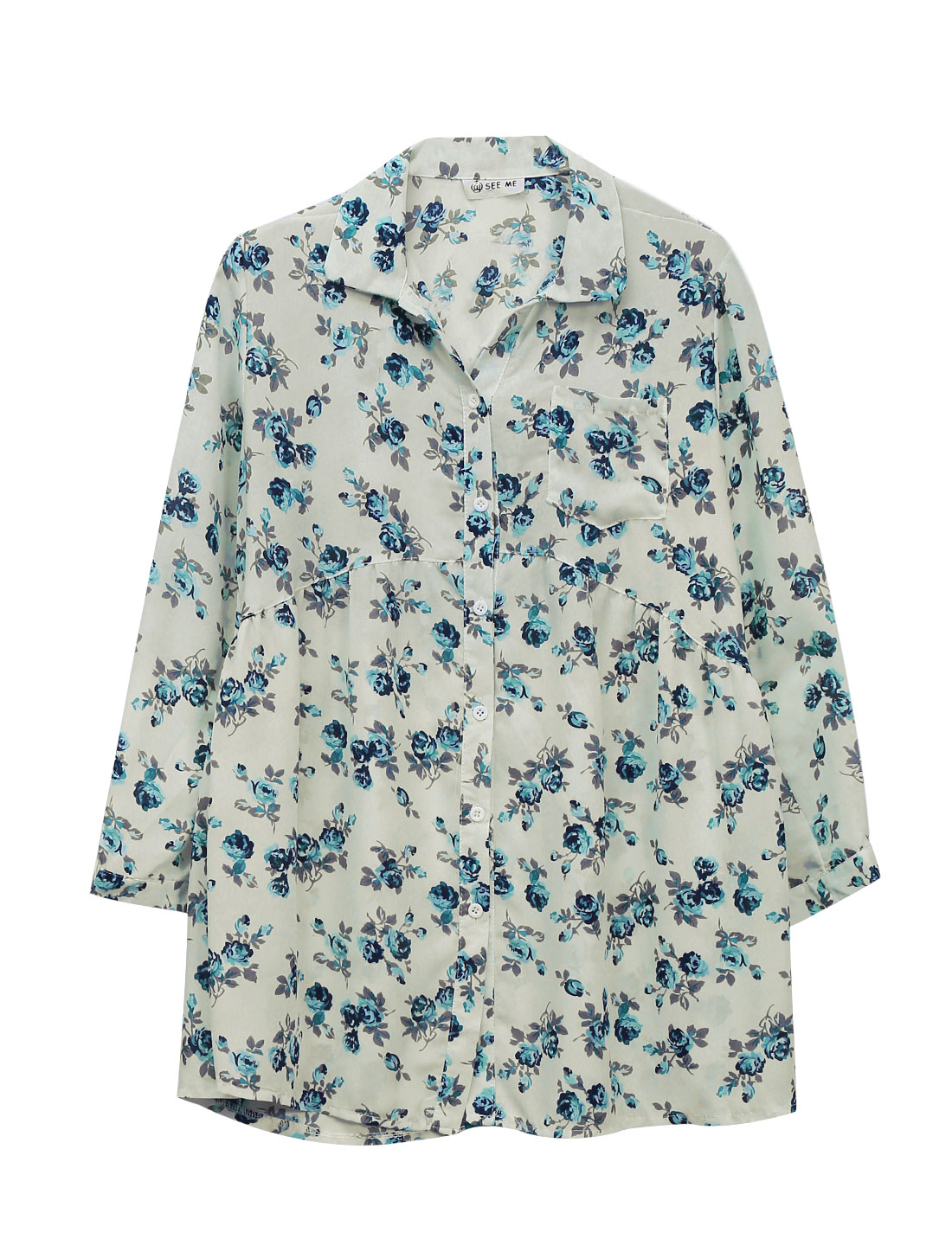 Lady Bust Pocket Point Collar Floral Print Fashion Chiffon Long Shirt Beige M