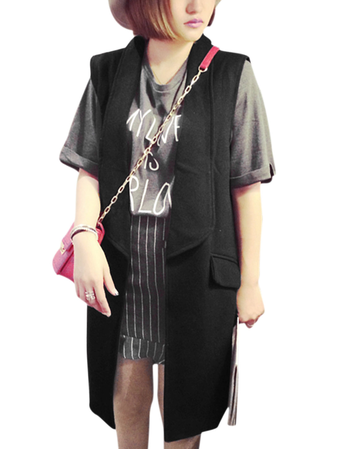 Women Shawl Lapel Sleeveless Front Opening Casual Long Vest Black M