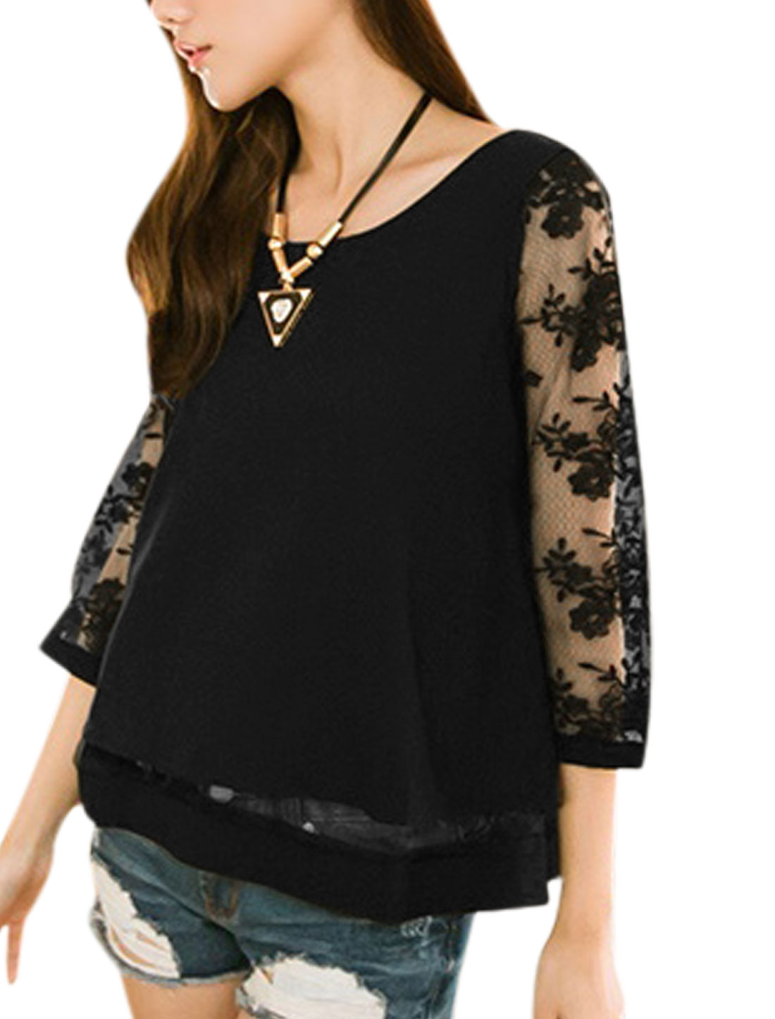 Women Round Neck 3/4 Sleeve Cross Back Casual Shirt Black XS
