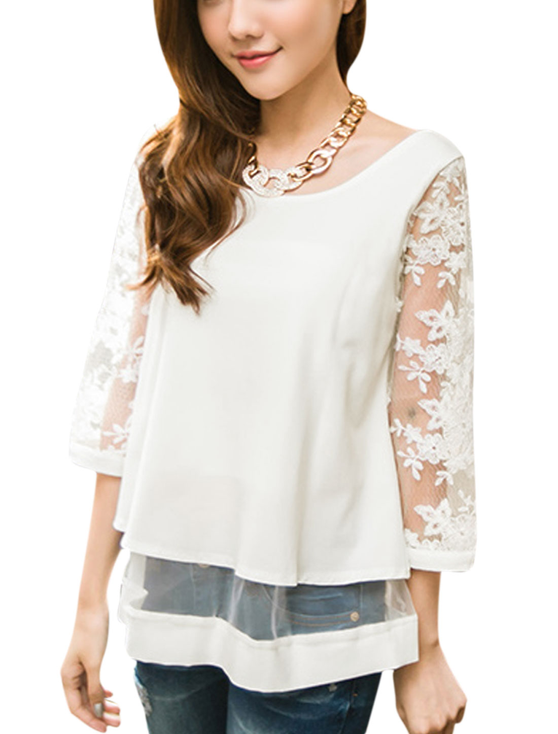 Women Floral Detail Round Neck 3/4 Sleeve Casual Shirt White XS