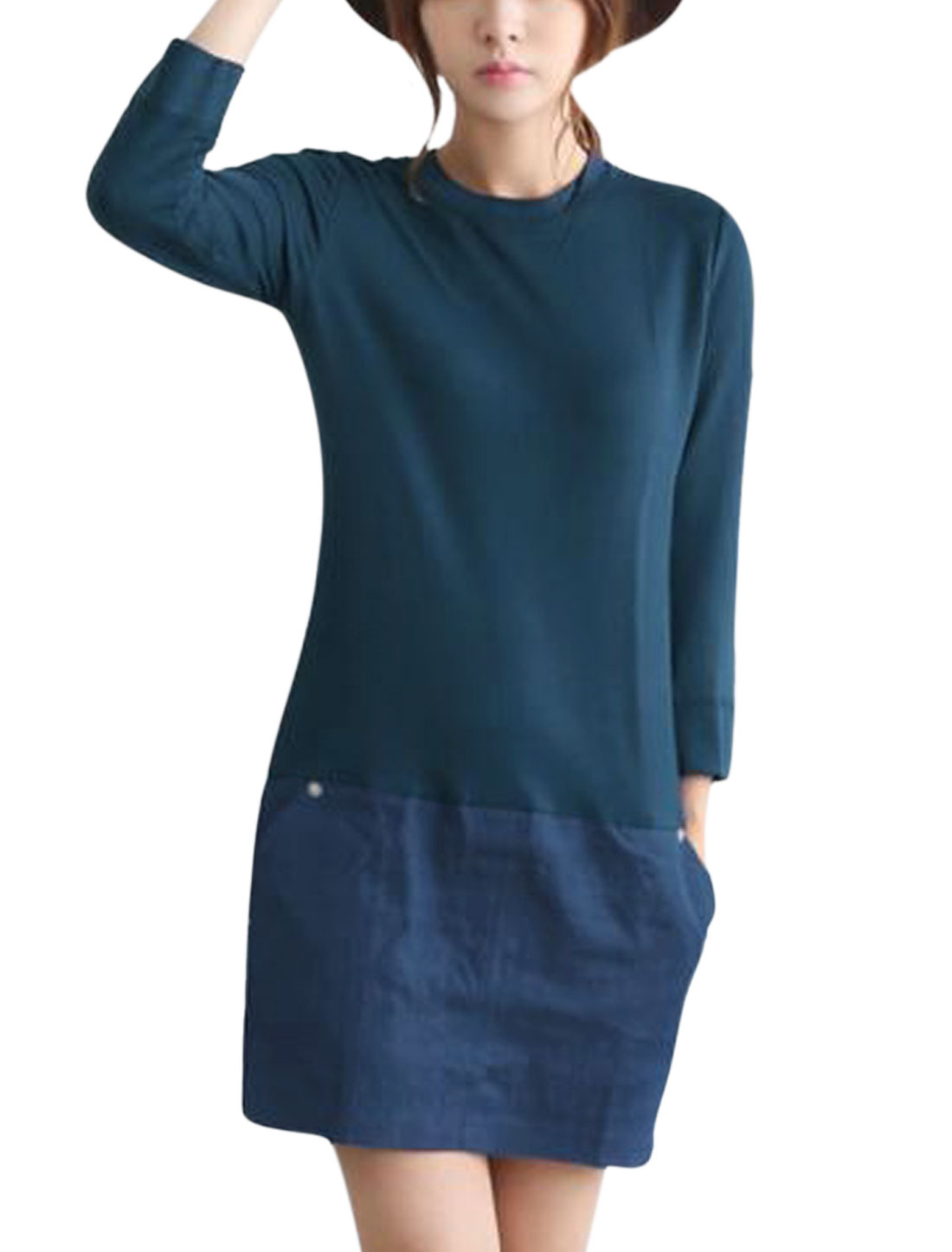 Women Round Neck 3/4 Sleeve Denim Spliced Casual Straight Dress Navy Blue M