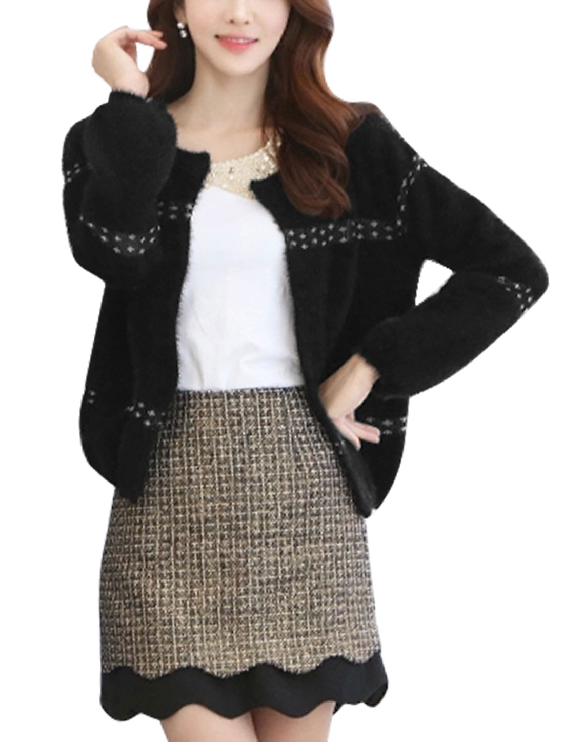 Lady Front Opening Knit Panel Casual Cardigan w Pearl Brooch Black S