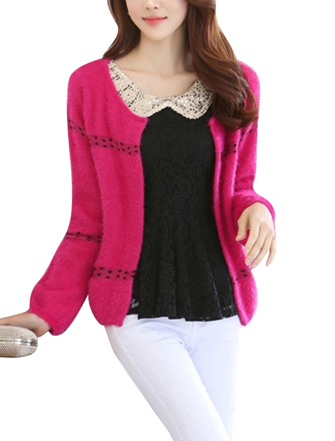 Lady Front Openig Long Sleeve Fashionable Cardigan w Pearl Brooch Fuchsia S