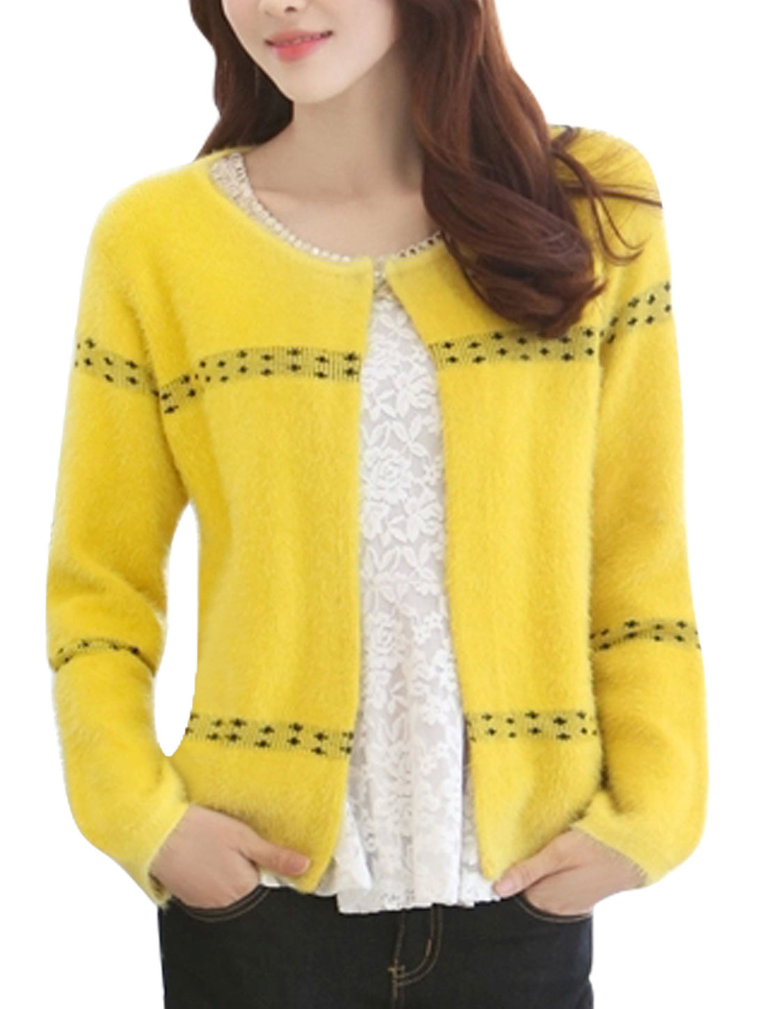 New Style Front Opening Stylish Casual Cardigan w Pearl Brooch Yellow S