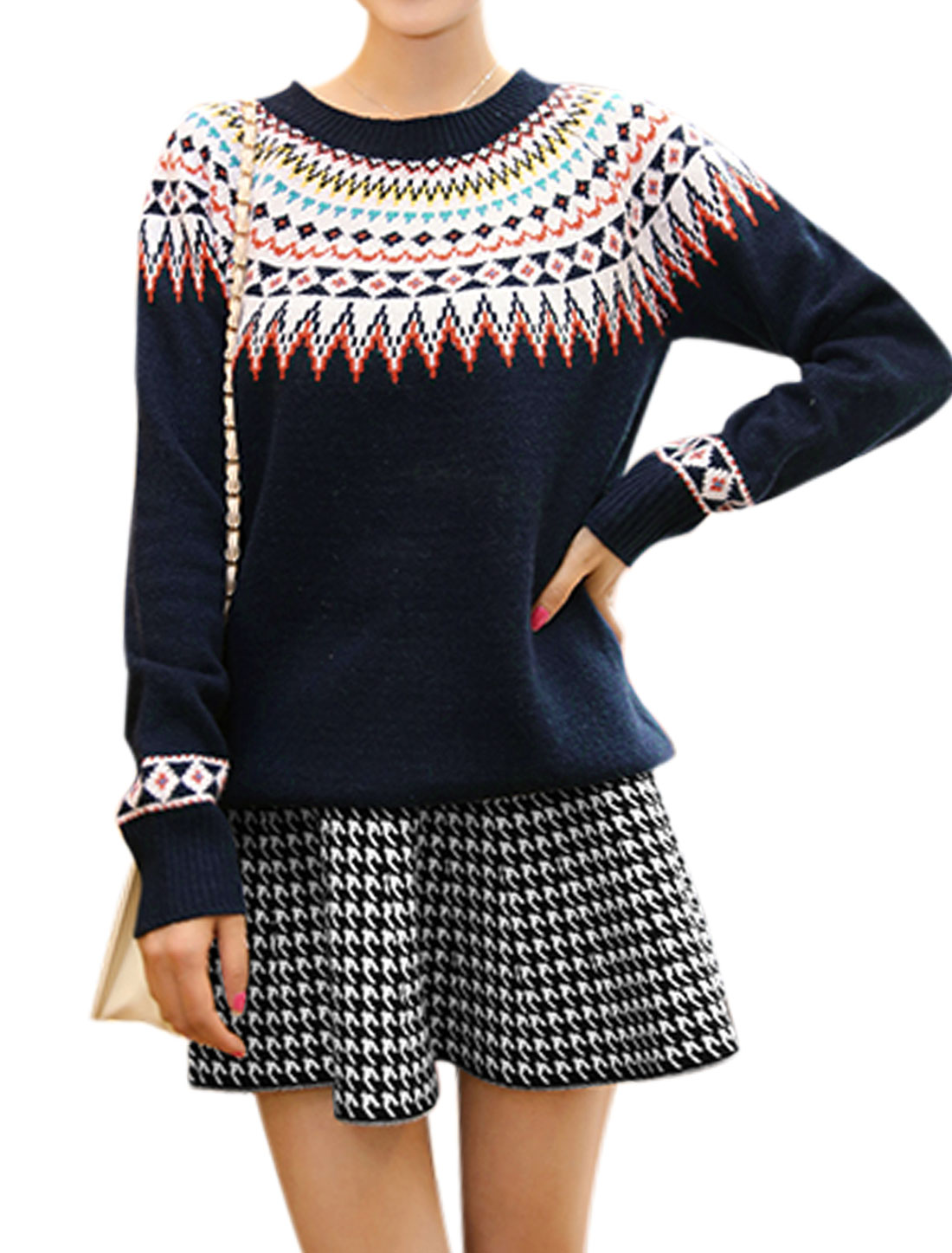 Women Round Neck Long Sleeve Sweater w Houndstooth Pattern Skirt Navy Blue S