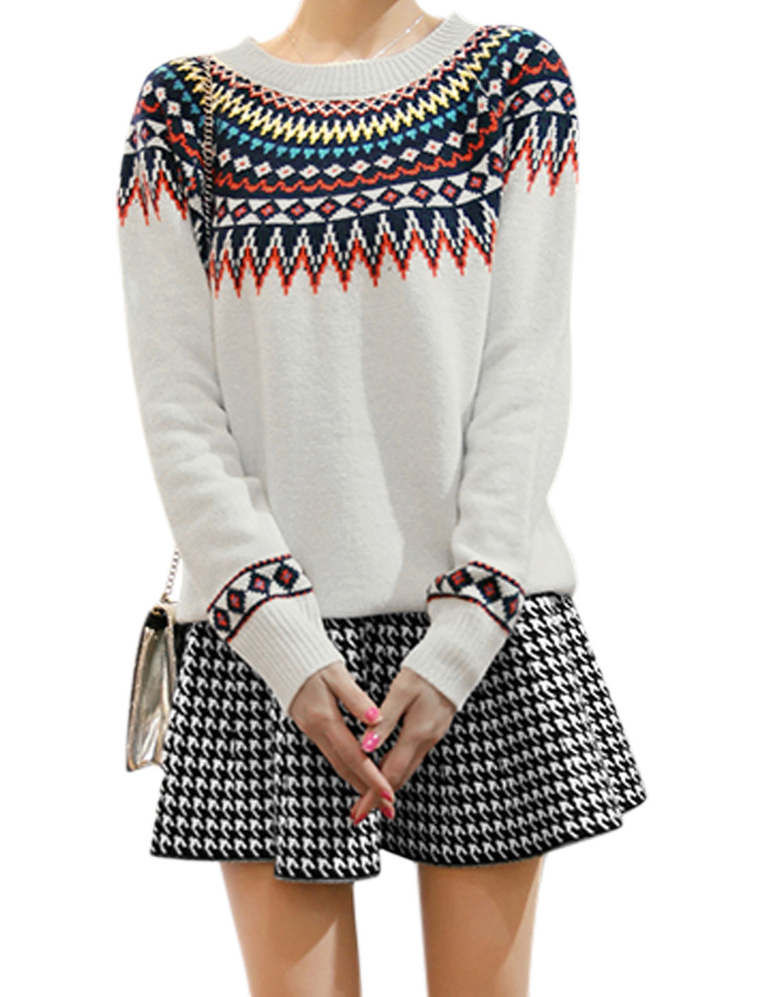 Women Argyle Pattern Sweater w High Waist Ruffled Skirt White S