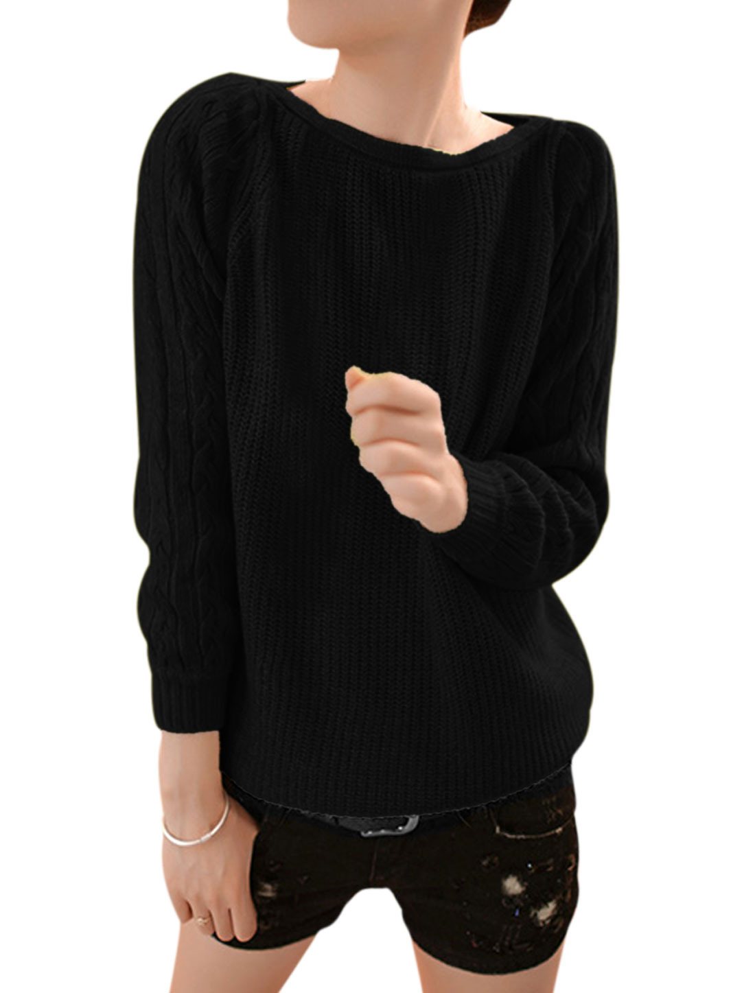 Women Raglan Sleeve Round Neck Fashion Cable Knit Sweater Black S