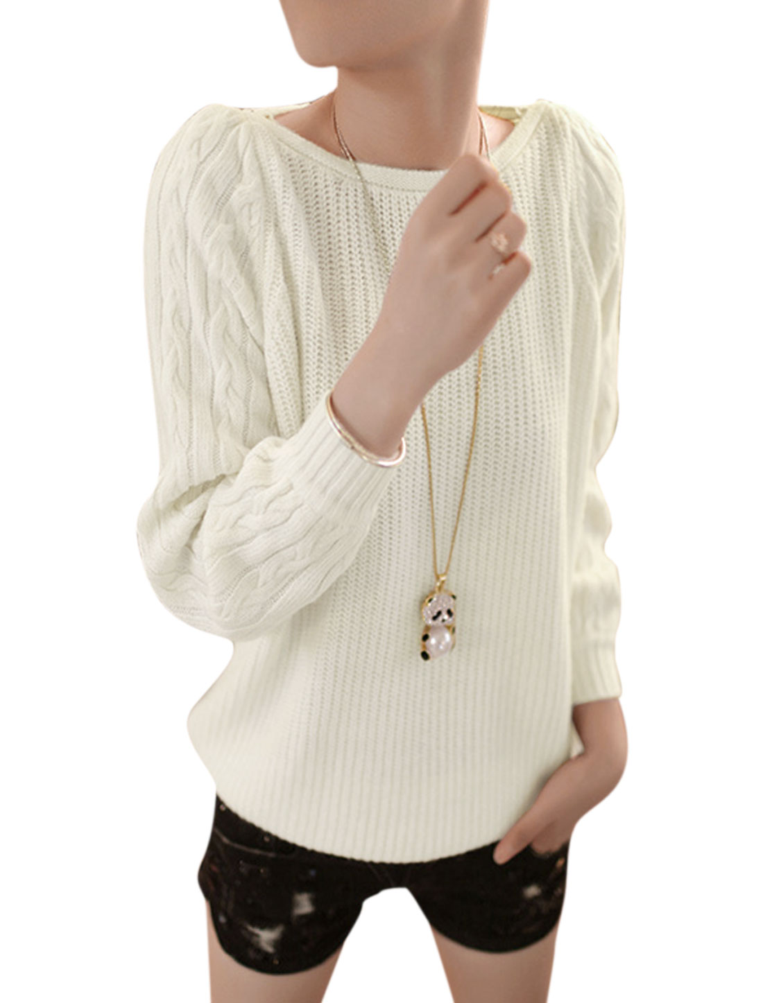 Women Round Neck Long Sleeve Leisure Cable Knit Sweater Beige S