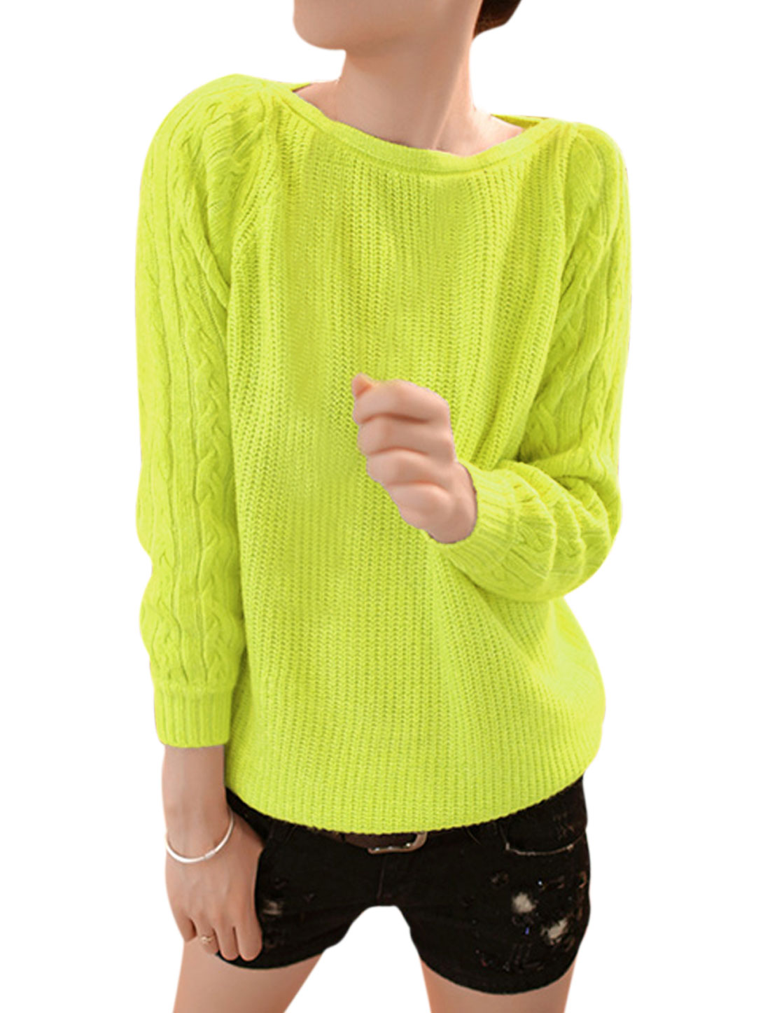 Women Long Sleeve Pullover Fashion Cable Knit Sweater Lime S