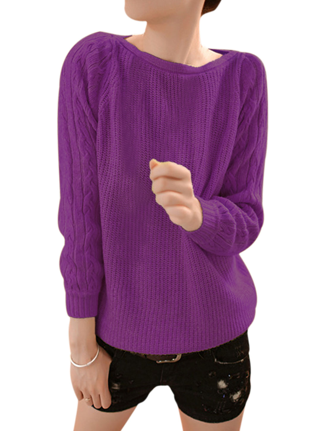 Women Round Neck Slipover Leisure Cable Knit Sweater Purple S