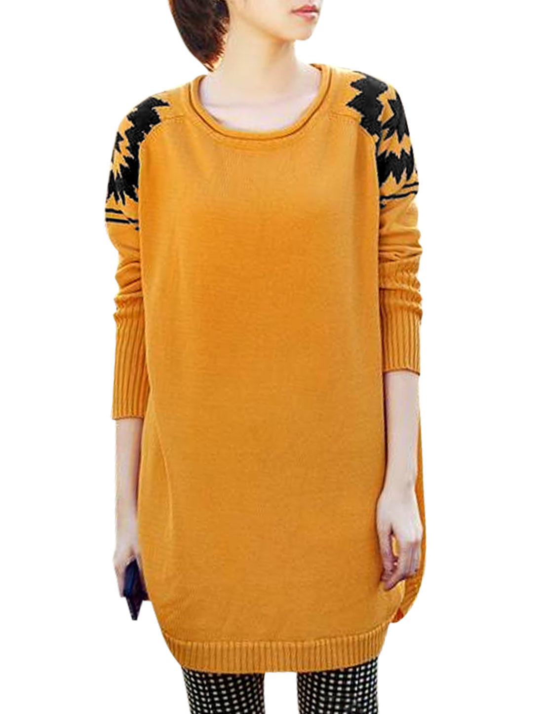 Ladies Yellow Round Neck Raglan Sleeves Pullover Casaul Sweater XS