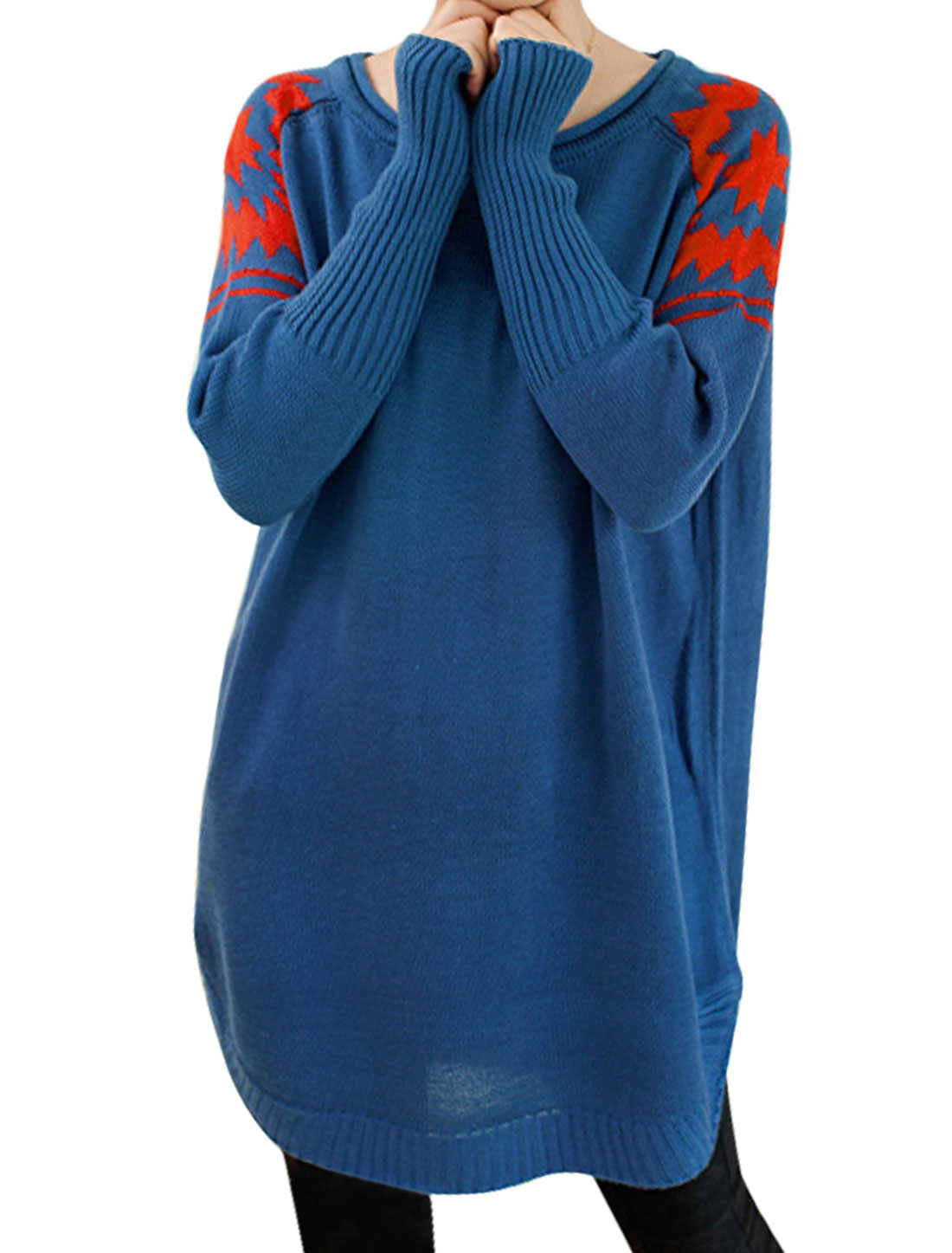 Ladies Blue Round Neck Raglan Sleeves Slipover Leisure Sweater XS