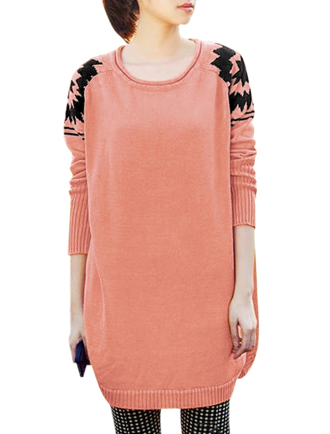 Ladies Pale Pink Round Neck Raglan Sleeves Slipover Round Hem Sweater XS