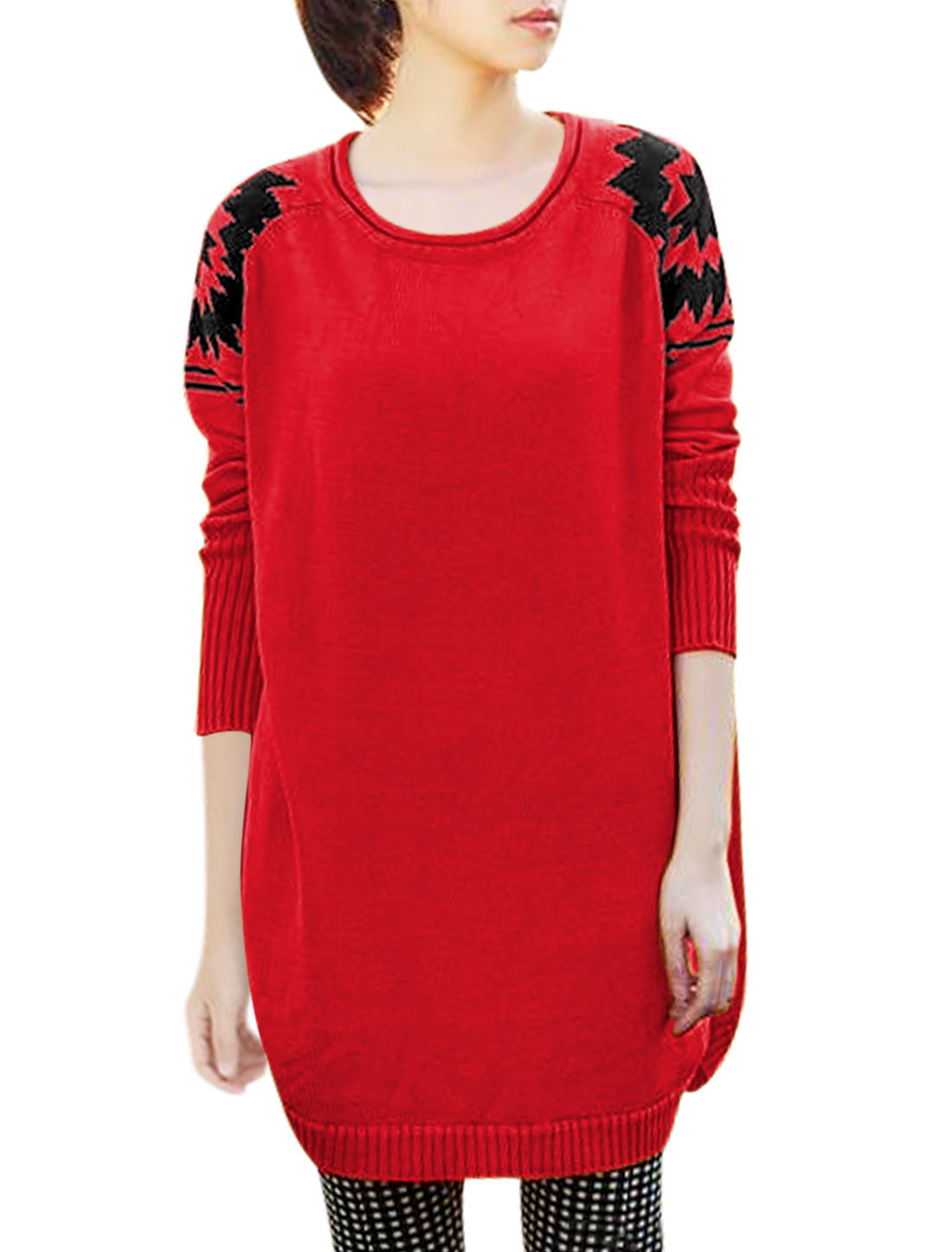 Ladies Red Round Neck Raglan Sleeves Slipover Zig-Zag Detail Sweater XS