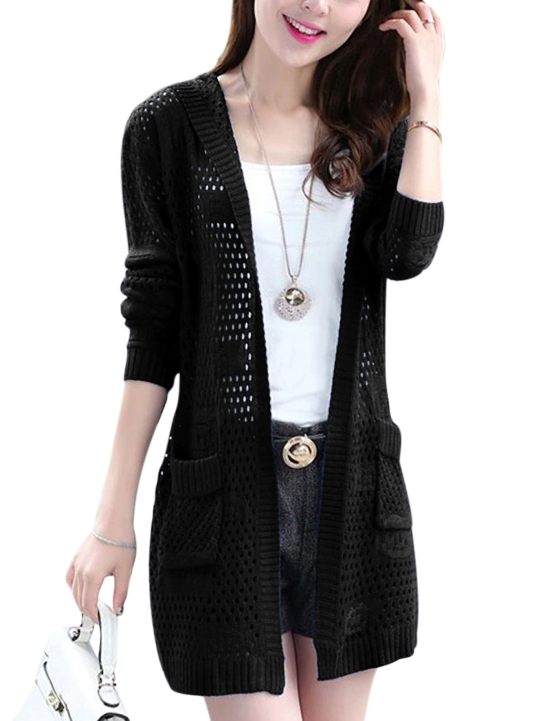 Women Front Opening Hollow Out Tab Back Hooded Long Cardigan Black XS